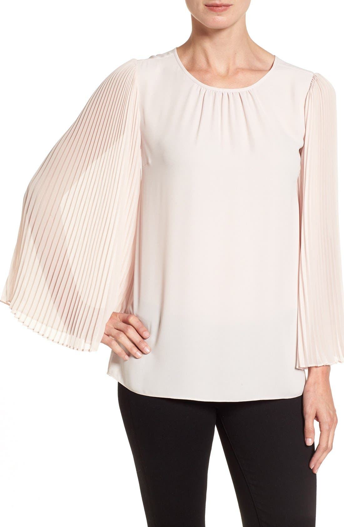 Alternate Image 1 Selected - Vince Camuto Pleated Chiffon Sleeve Blouse (Regular & Petite)