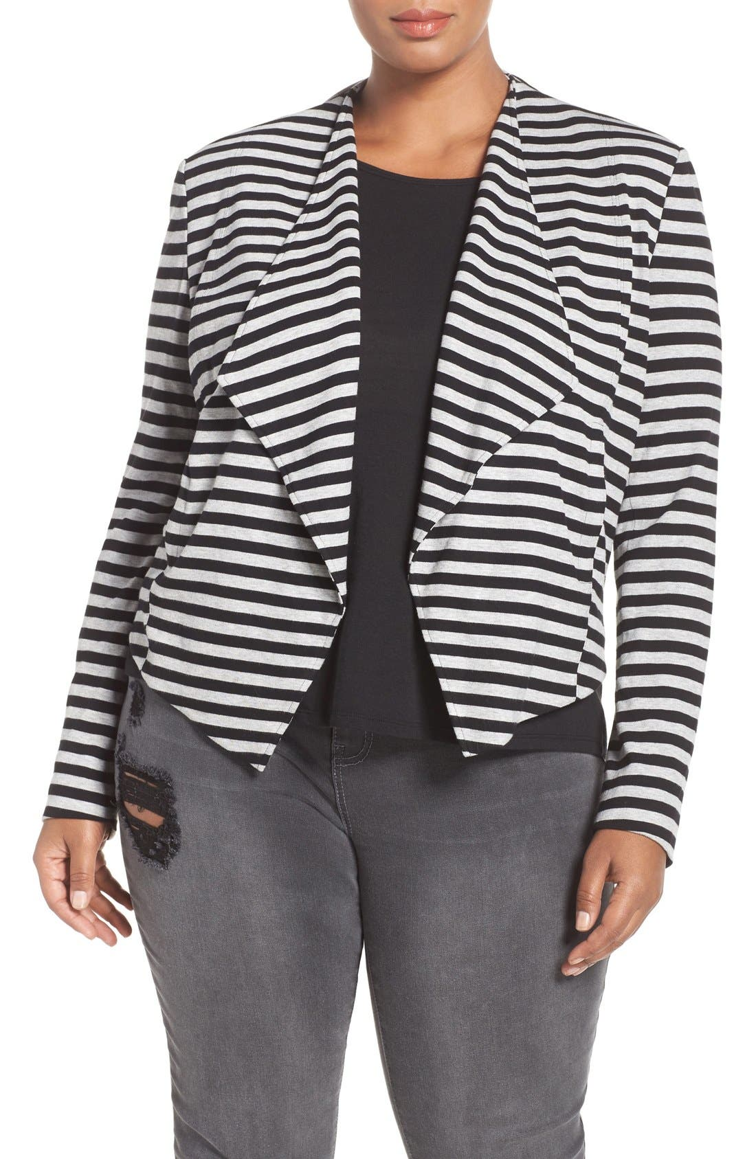 'Veronicka' Stripe Knit Open Front Jacket,                             Main thumbnail 1, color,                             Black/ Heather Grey Stripe