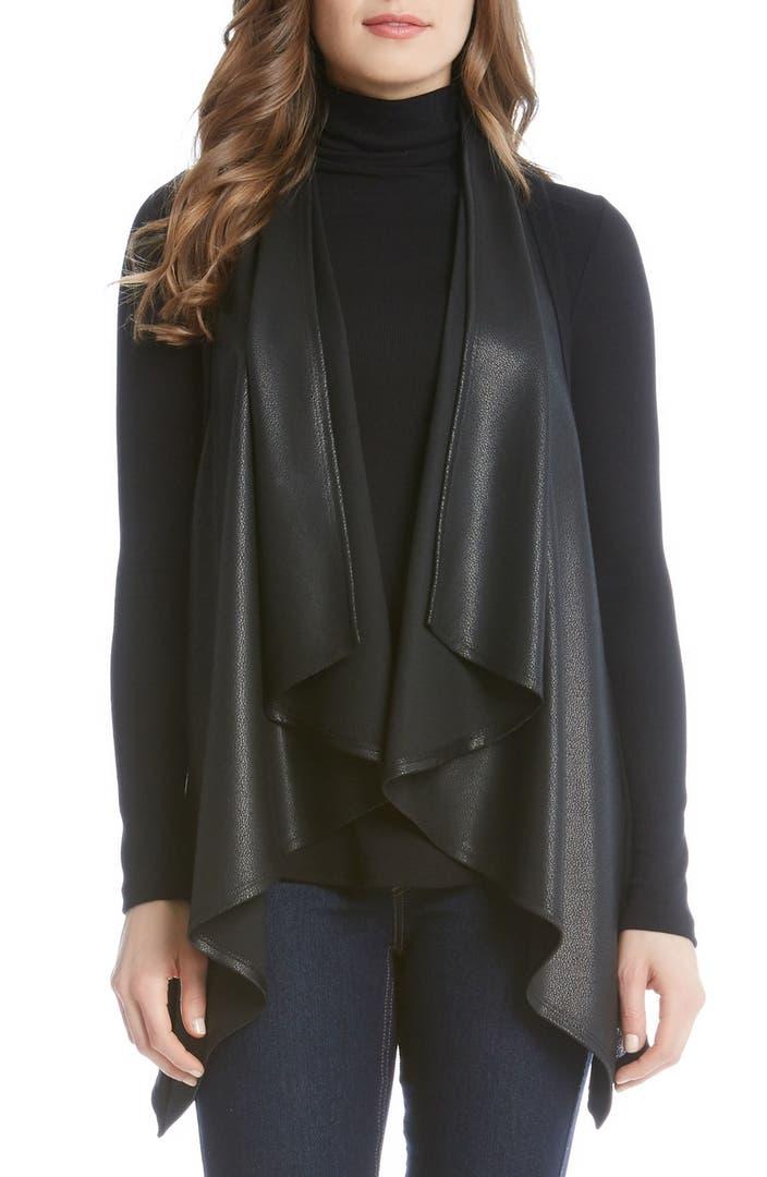Karen kane faux leather front vest nordstrom for Define faux leather