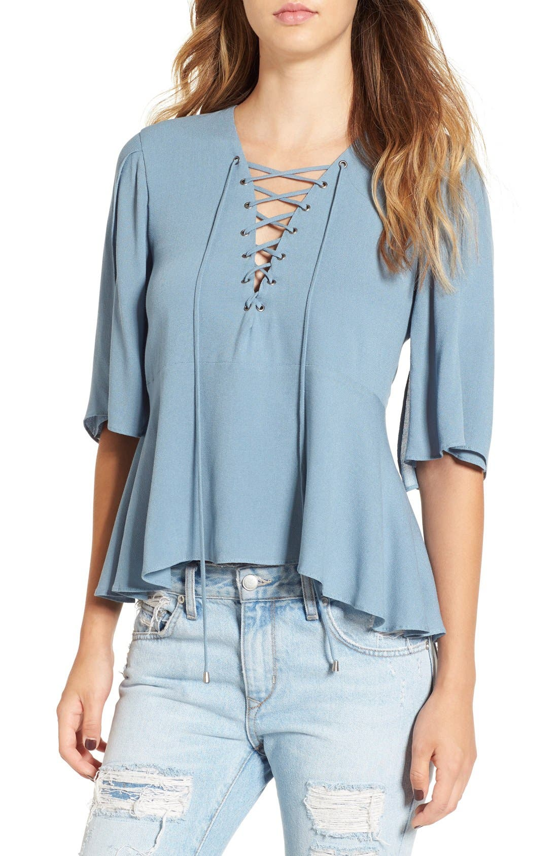 Main Image - Lovers + Friends 'Boulevard' Lace-Up Top