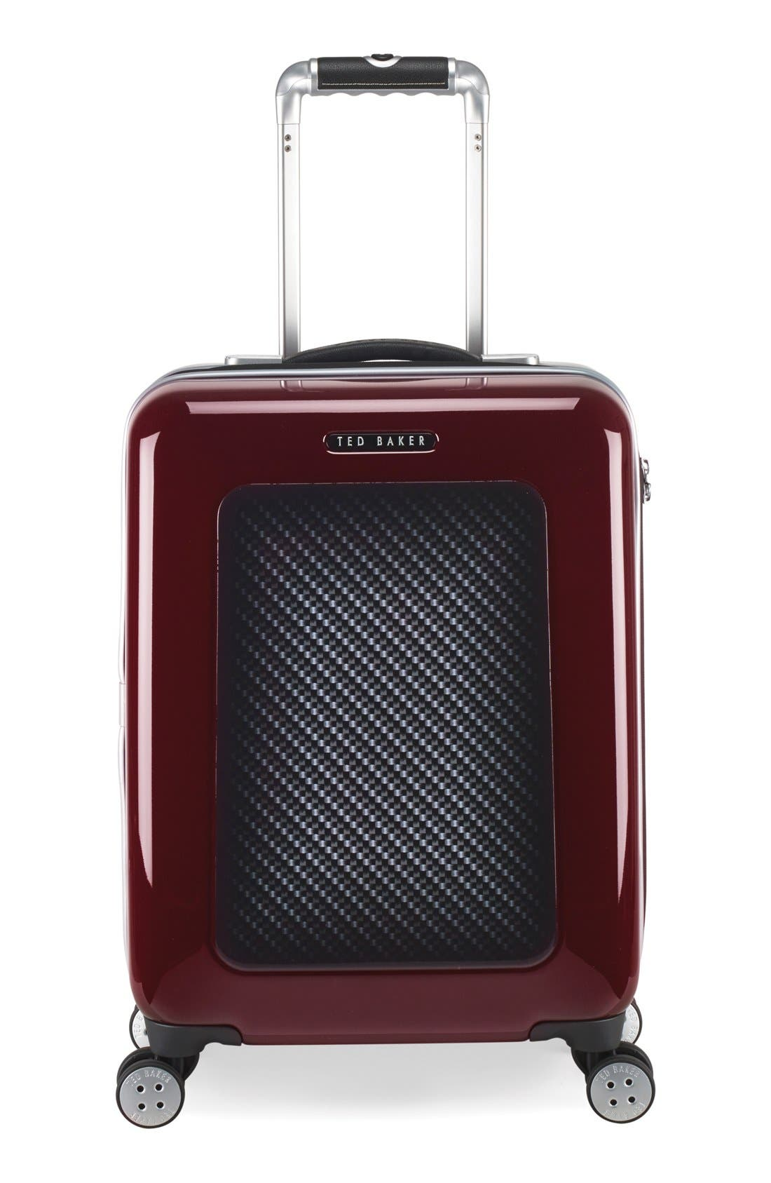 TED BAKER LONDON Small Burgundy Four Wheel Suitcase