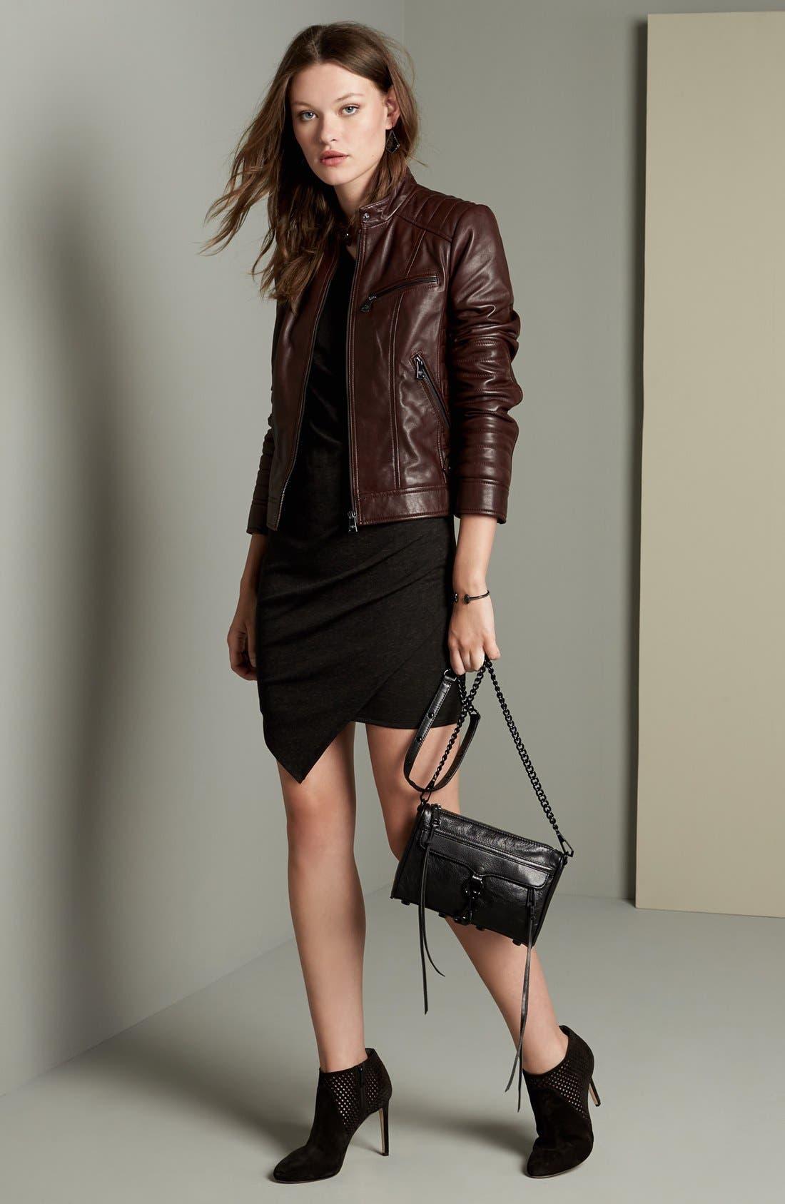 Alternate Image 2  - Bernardo Quilted Leather Moto Jacket (Regular & Petite)