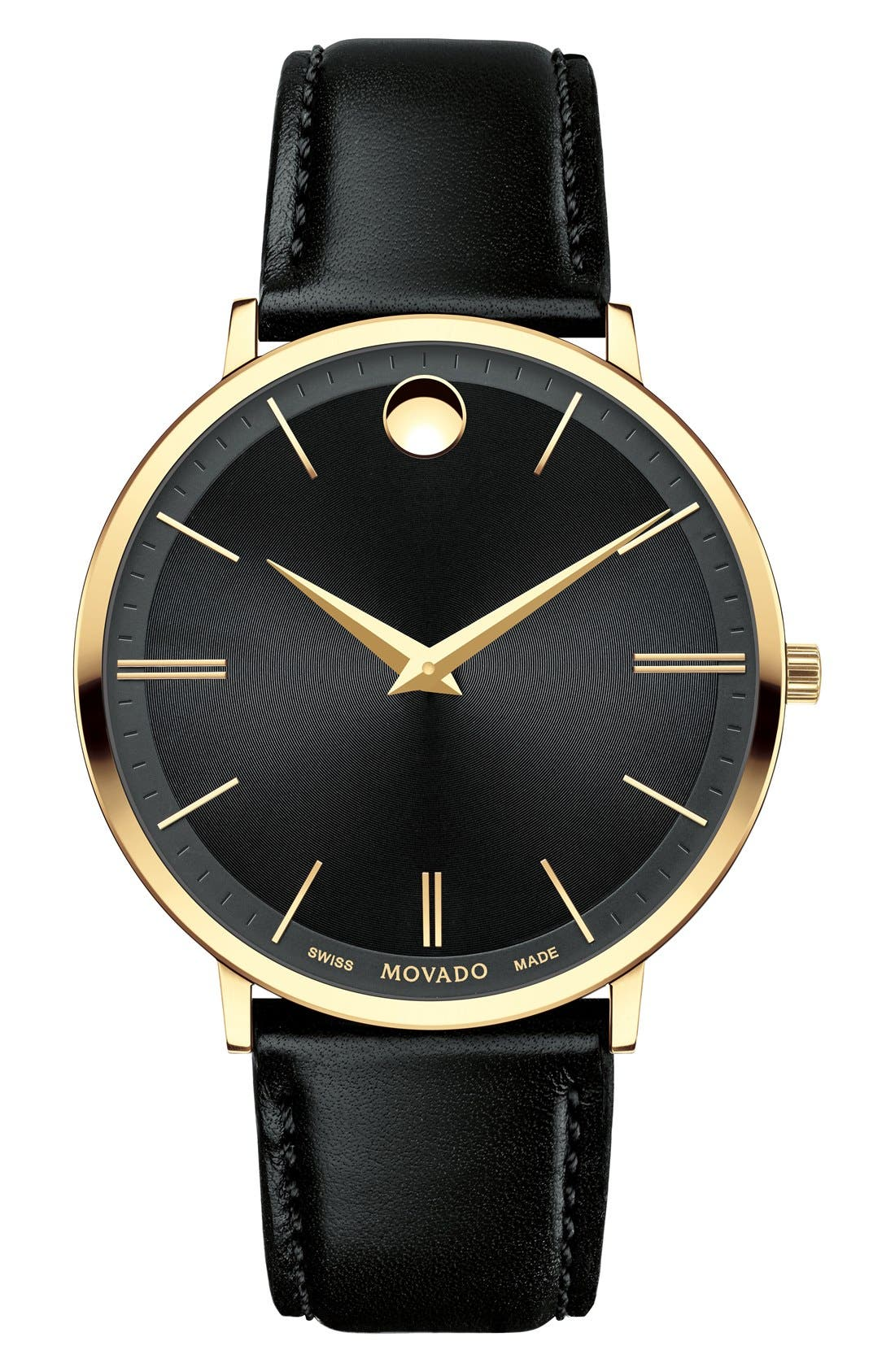 'Ultra Slim' Leather Strap Watch, 40mm,                         Main,                         color, Black/ Black/ Gold