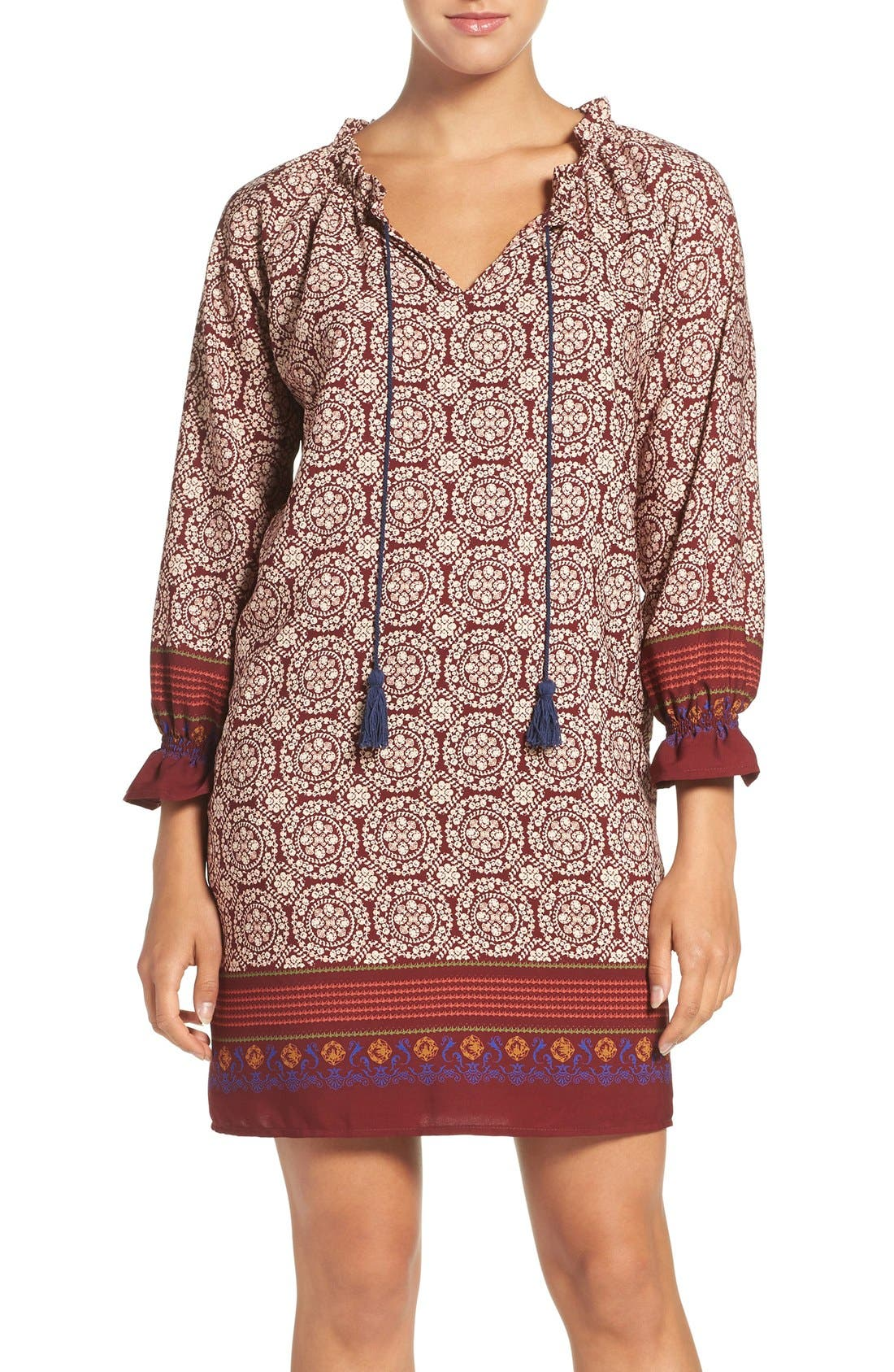'Nora' Print Woven Shift Dress,                         Main,                         color, Nora Wine