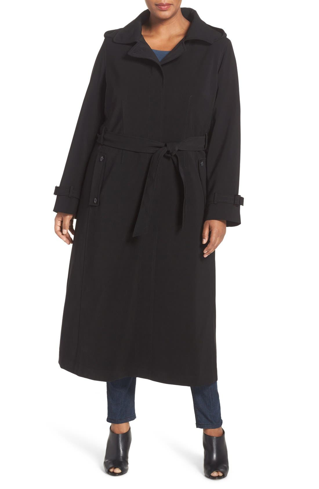 Long Nepage Raincoat with Detachable Hood & Liner,                             Main thumbnail 1, color,                             Black