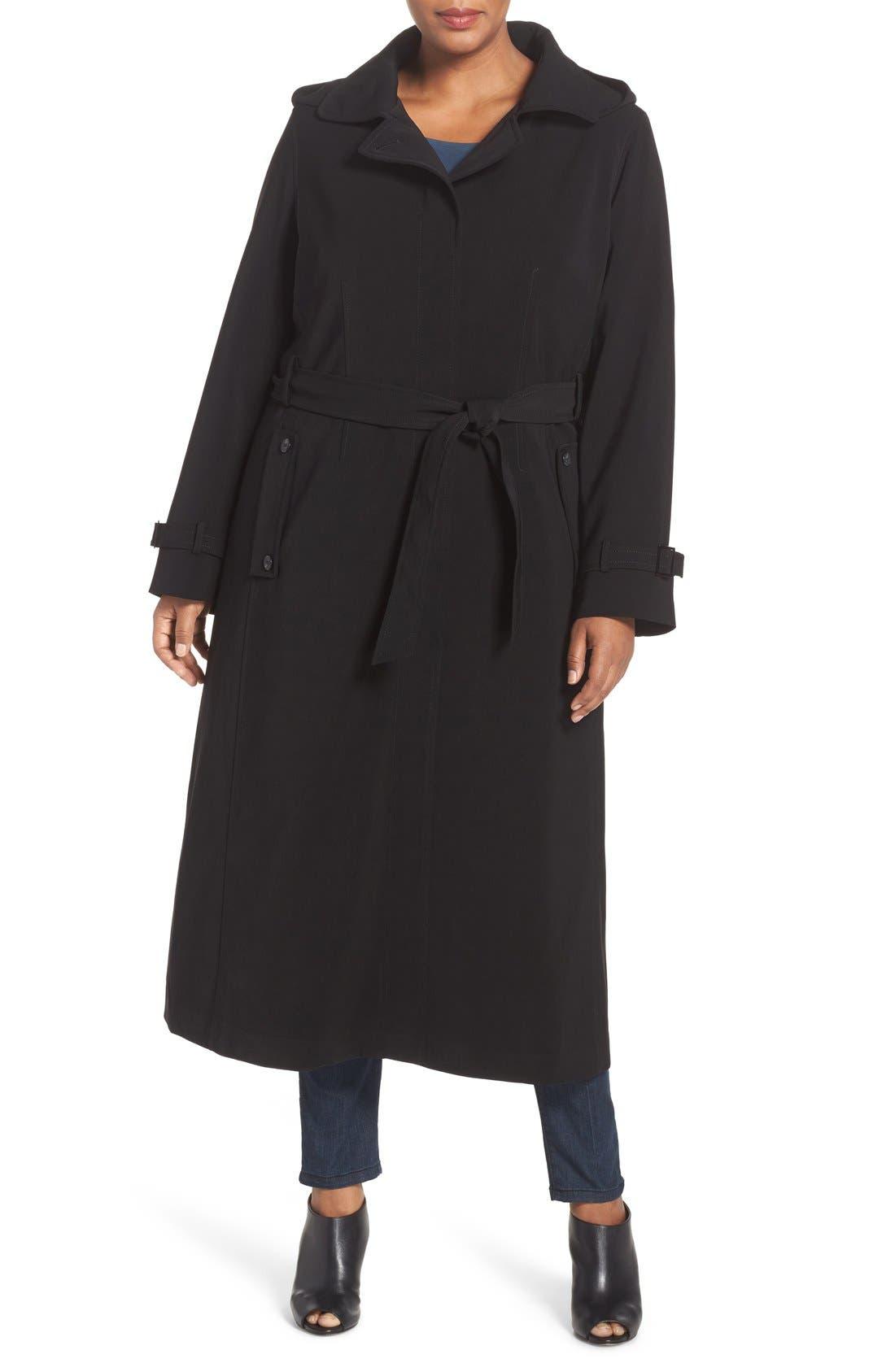 Long Nepage Raincoat with Detachable Hood & Liner,                         Main,                         color, Black