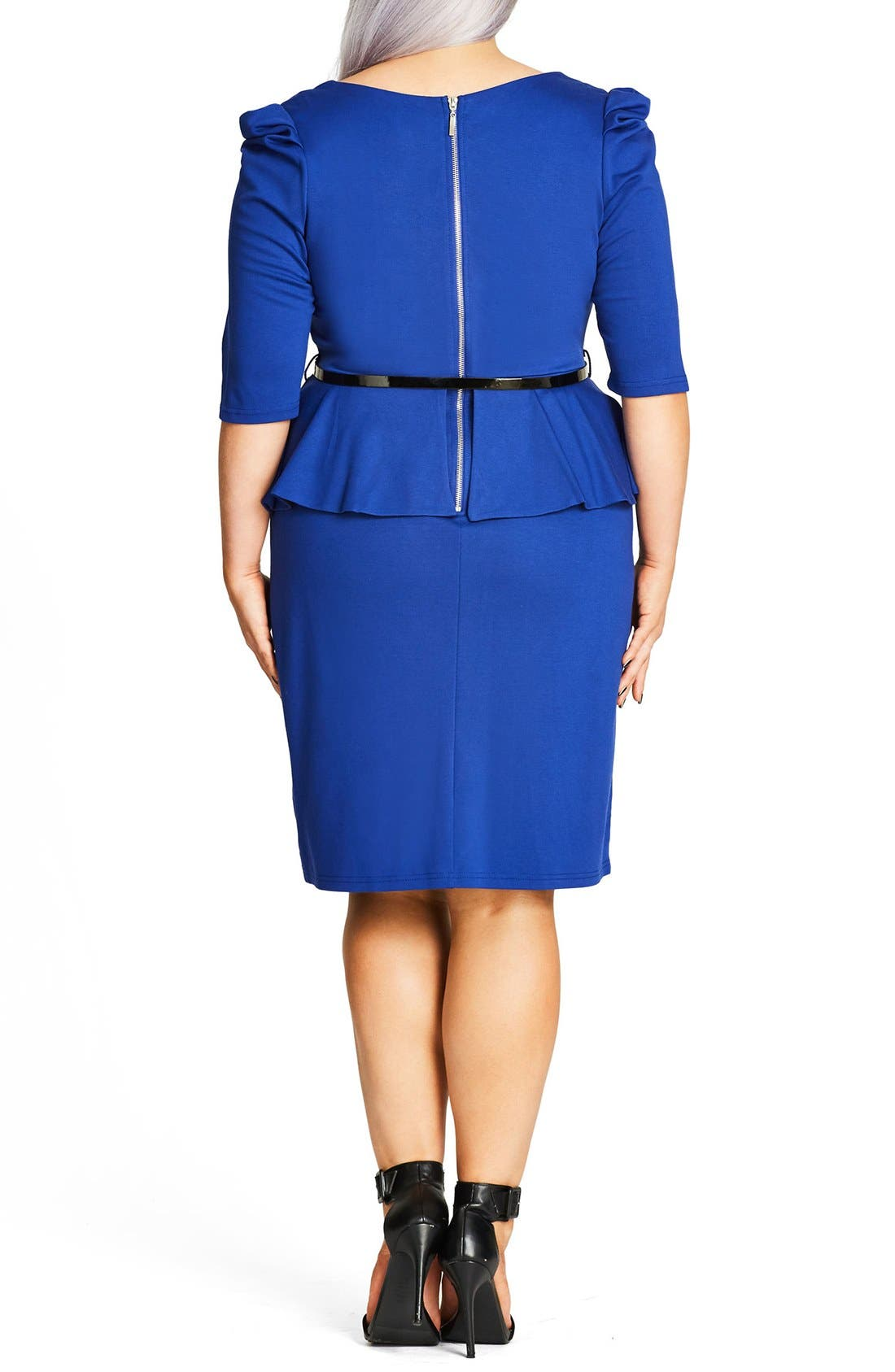 Alternate Image 2  - City Chic Peplum Dress (Plus Size)