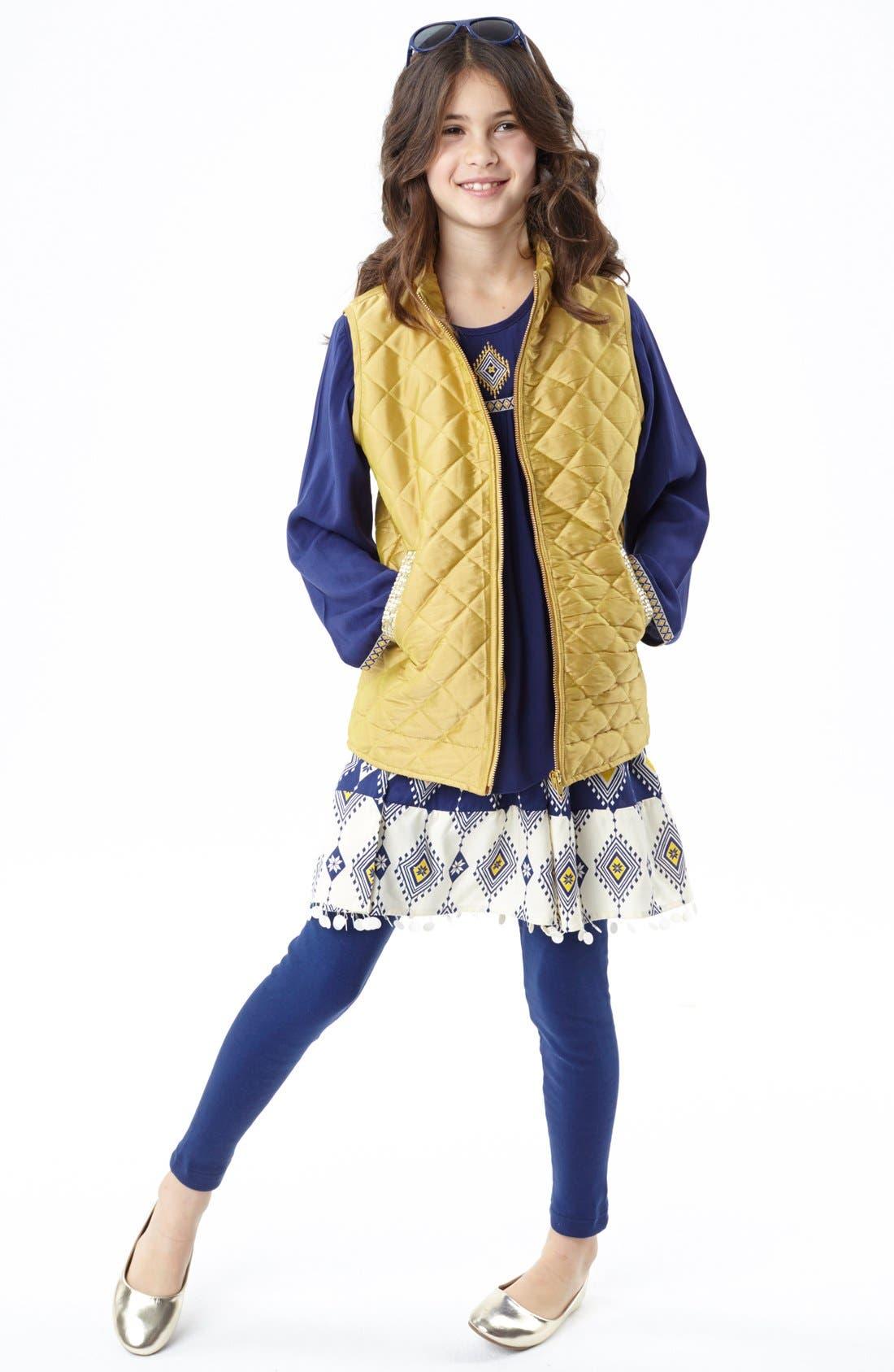Alternate Image 2  - Masalababy 'Estelle' Quilted Vest (Toddler Girls, Little Girls & Big Girls)
