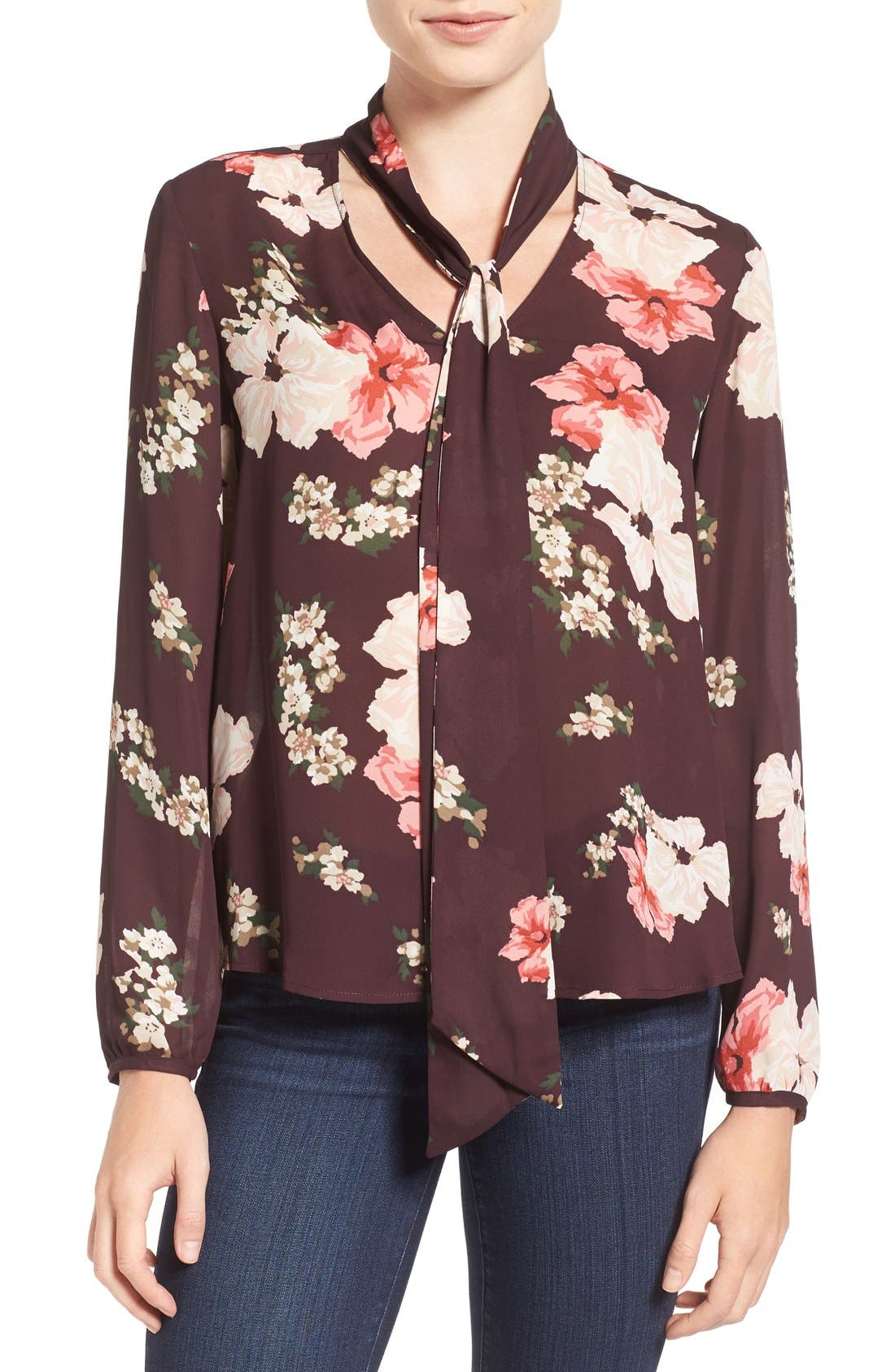 Main Image - cupcakes and cashmere Floral Print Tie Neck Blouse