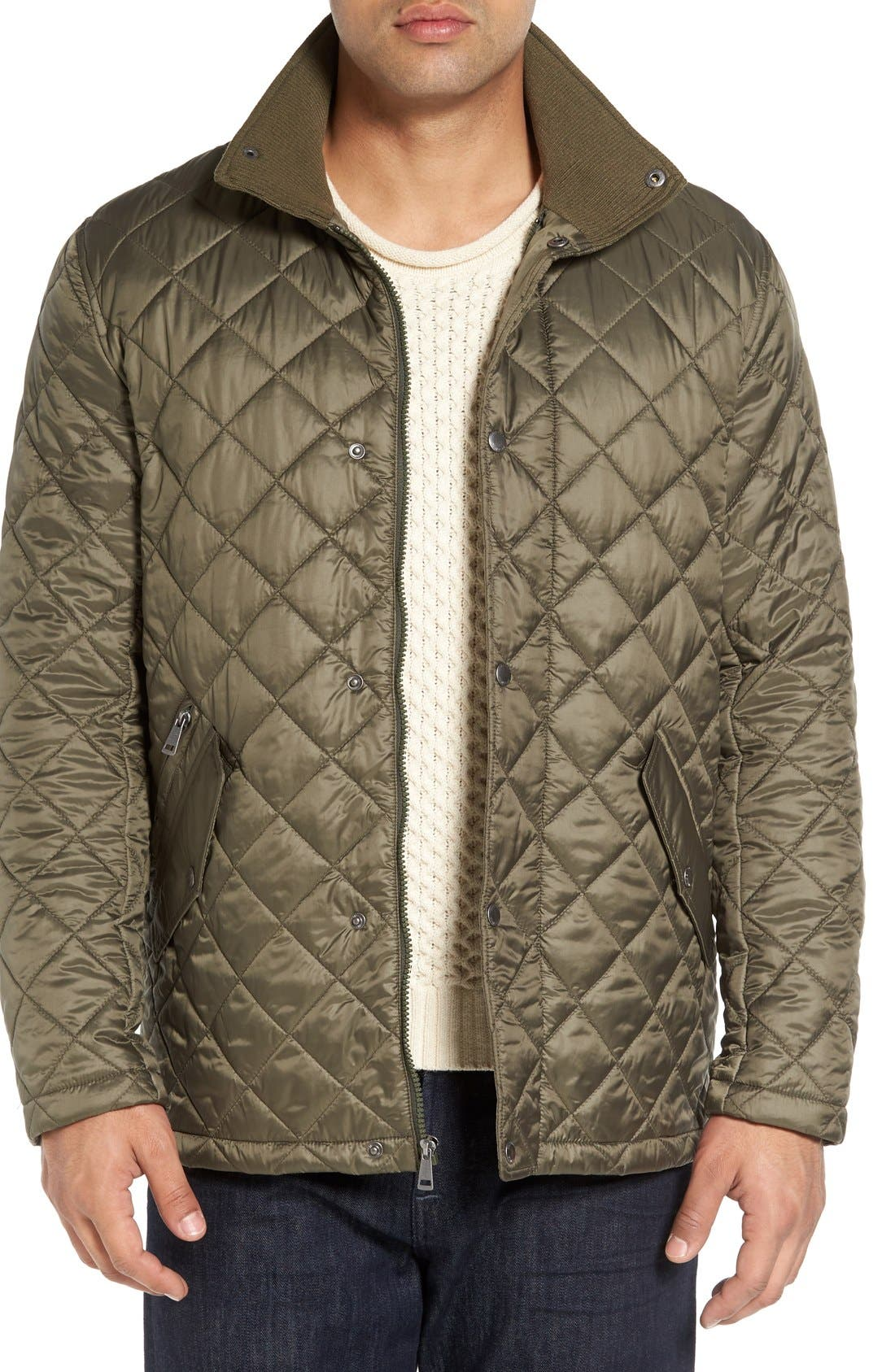 Diamond Quilted Jacket,                             Main thumbnail 1, color,                             Olive