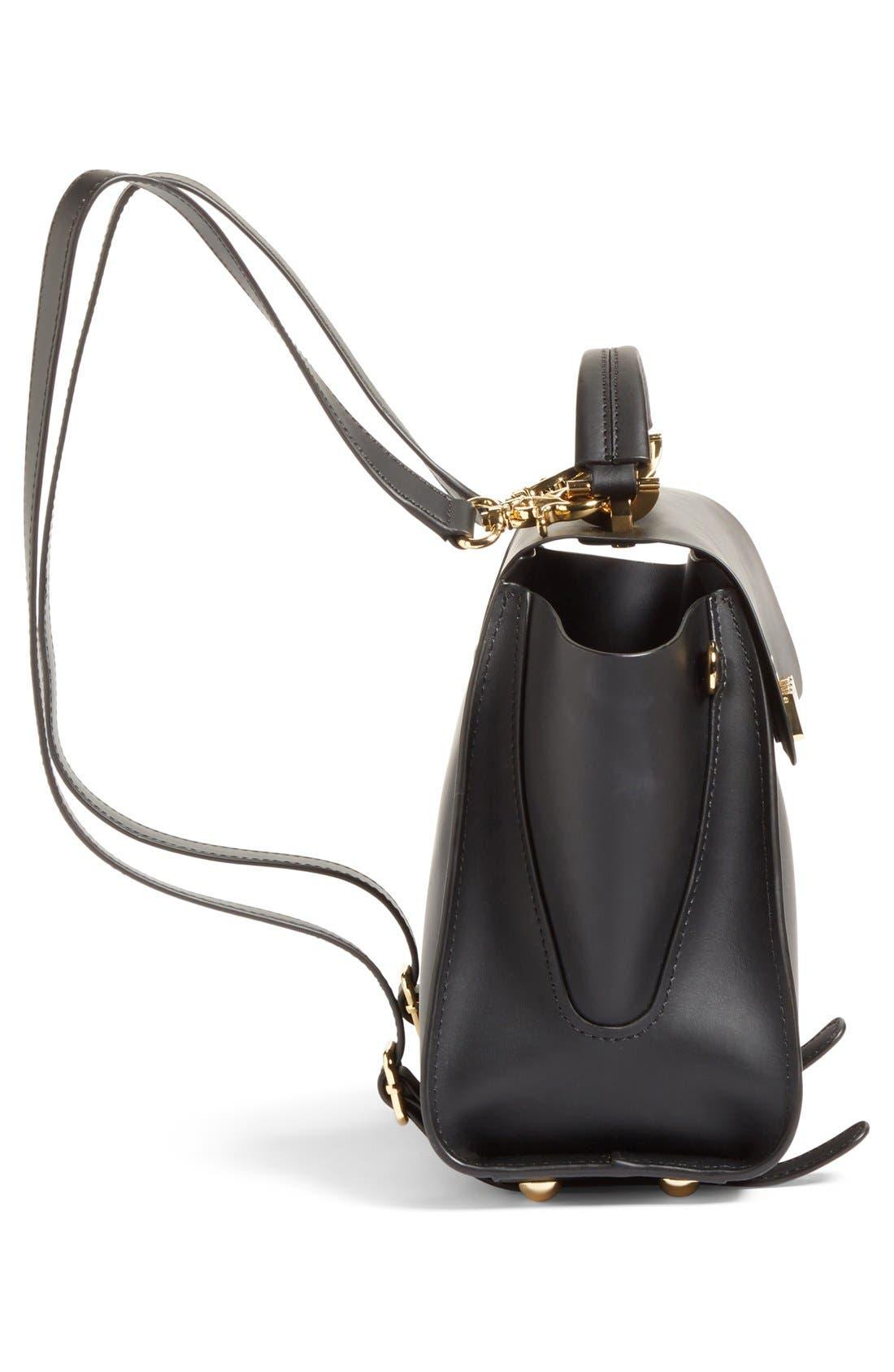 'Eartha Iconic' Leather Backpack,                             Alternate thumbnail 6, color,                             Black
