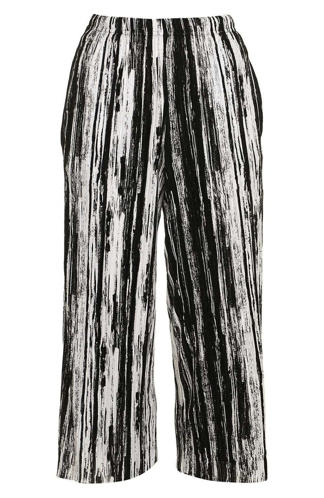Alternate Image 5  - Topshop Scratch Stripe Plissé Trousers (Petite)