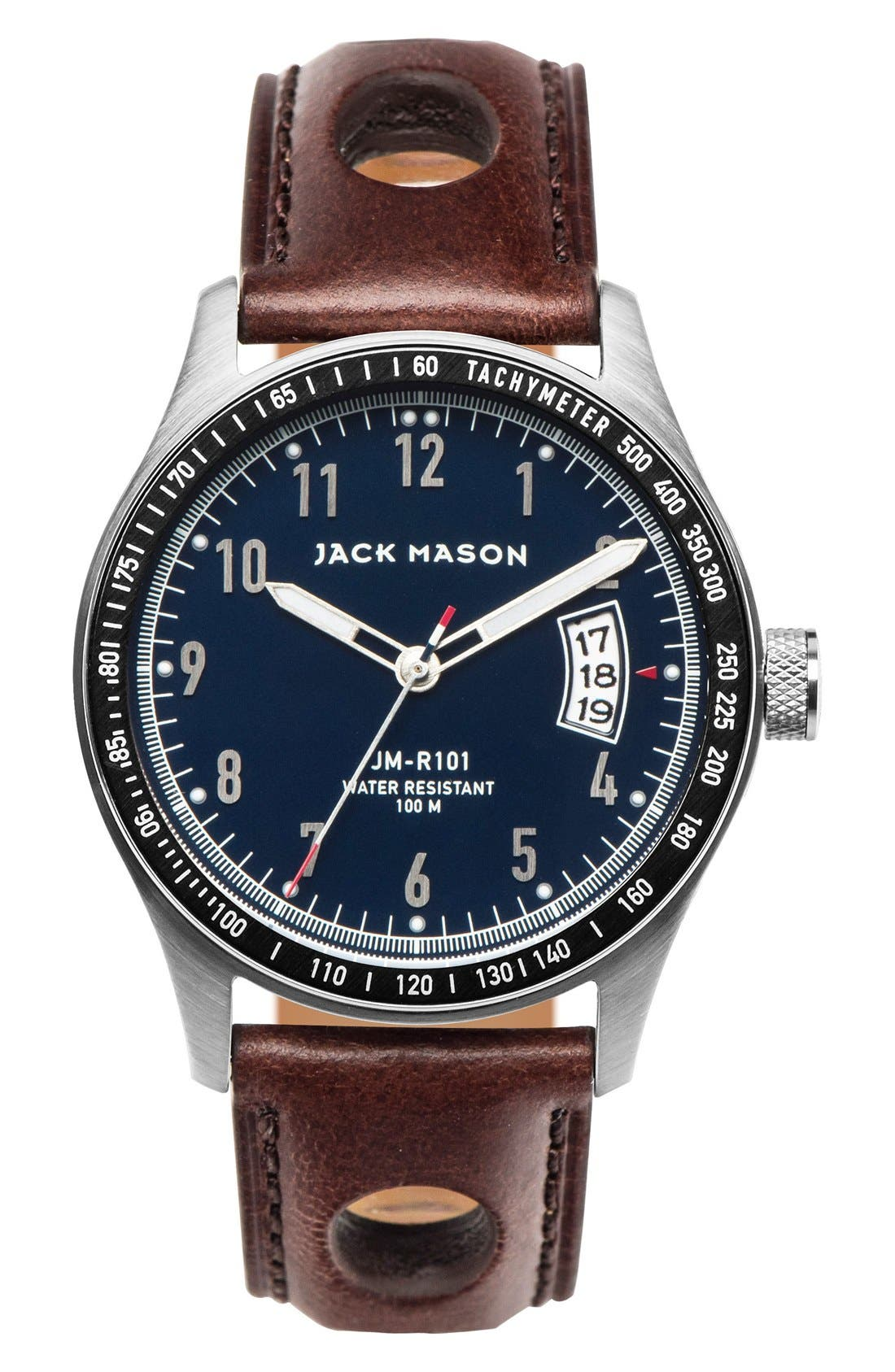 Leather Strap Watch, 42mm,                         Main,                         color, Navy/ Brown