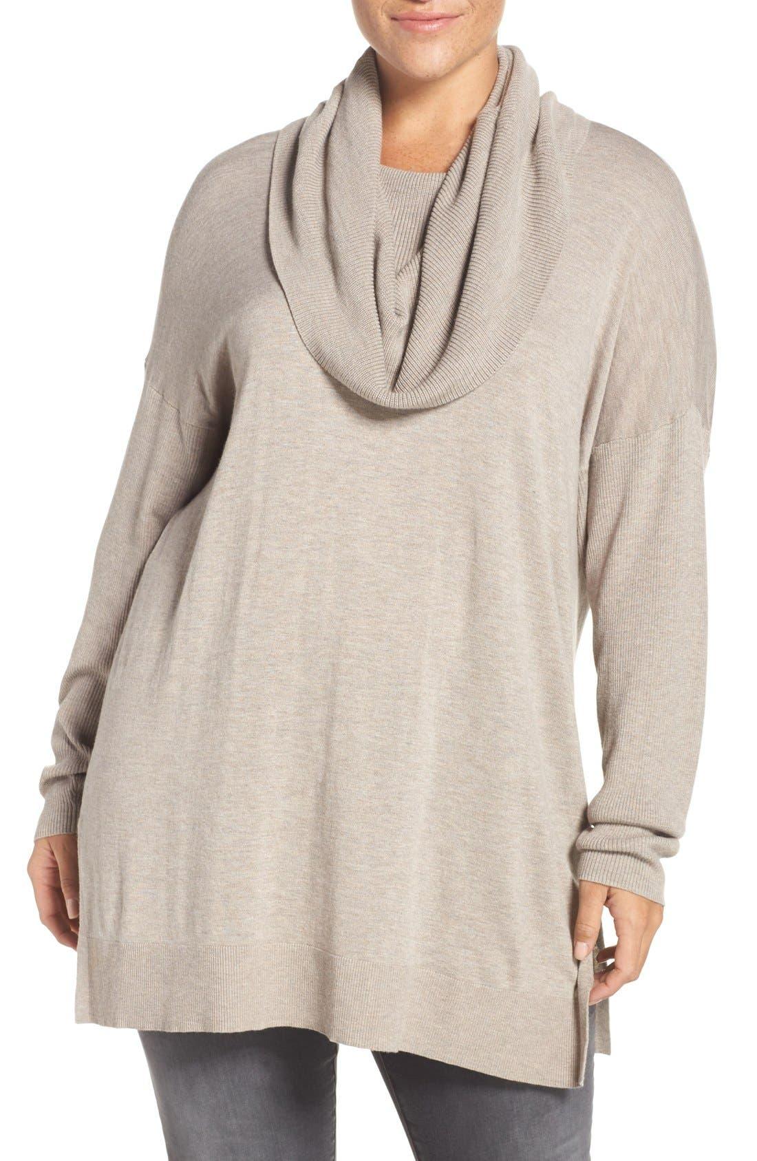 Caslon® Cowl Neck Tunic Sweater (Plus Size)