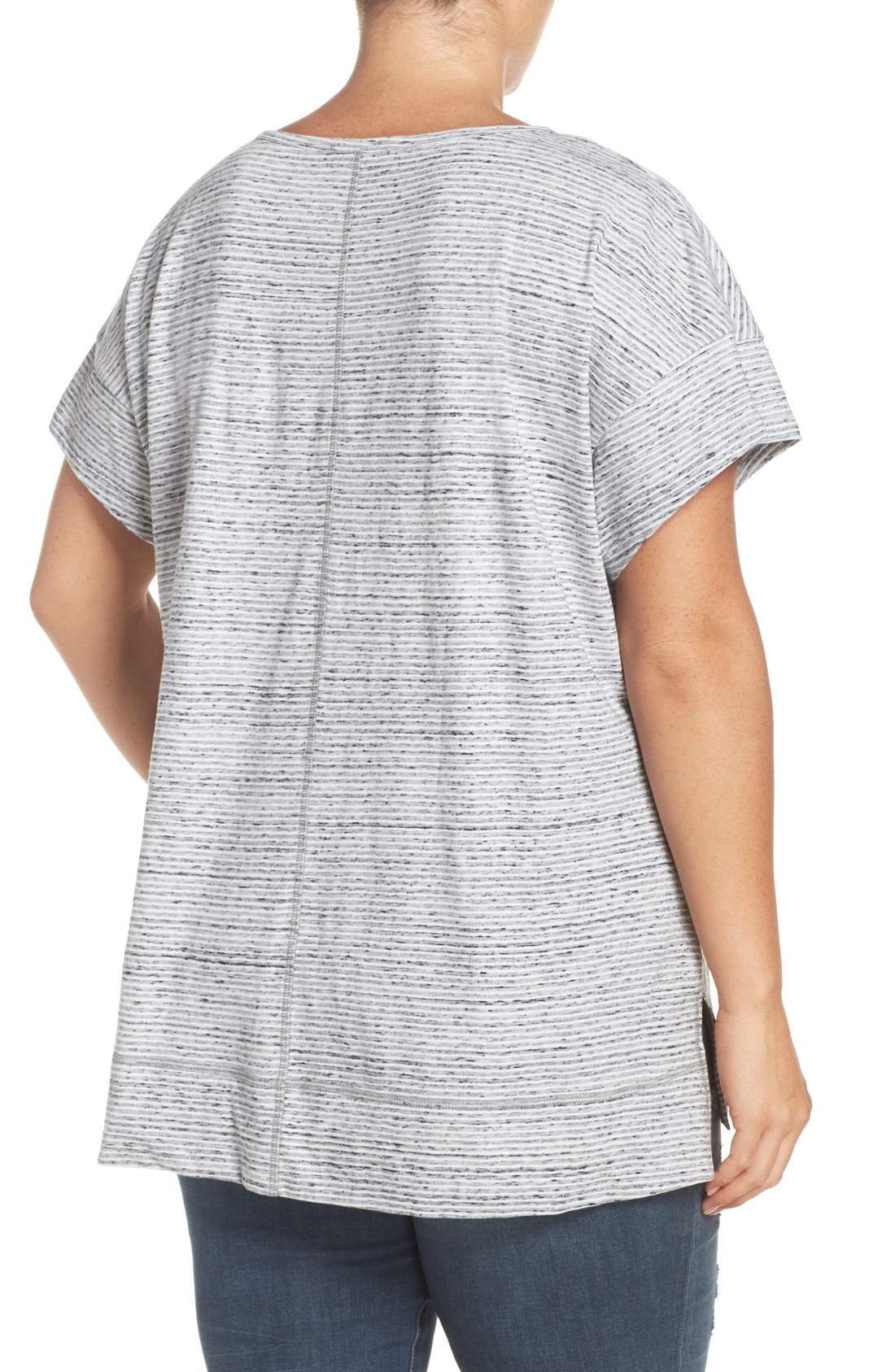 Alternate Image 2  - Sejour Stripe Short Sleeve Tee (Plus Size)
