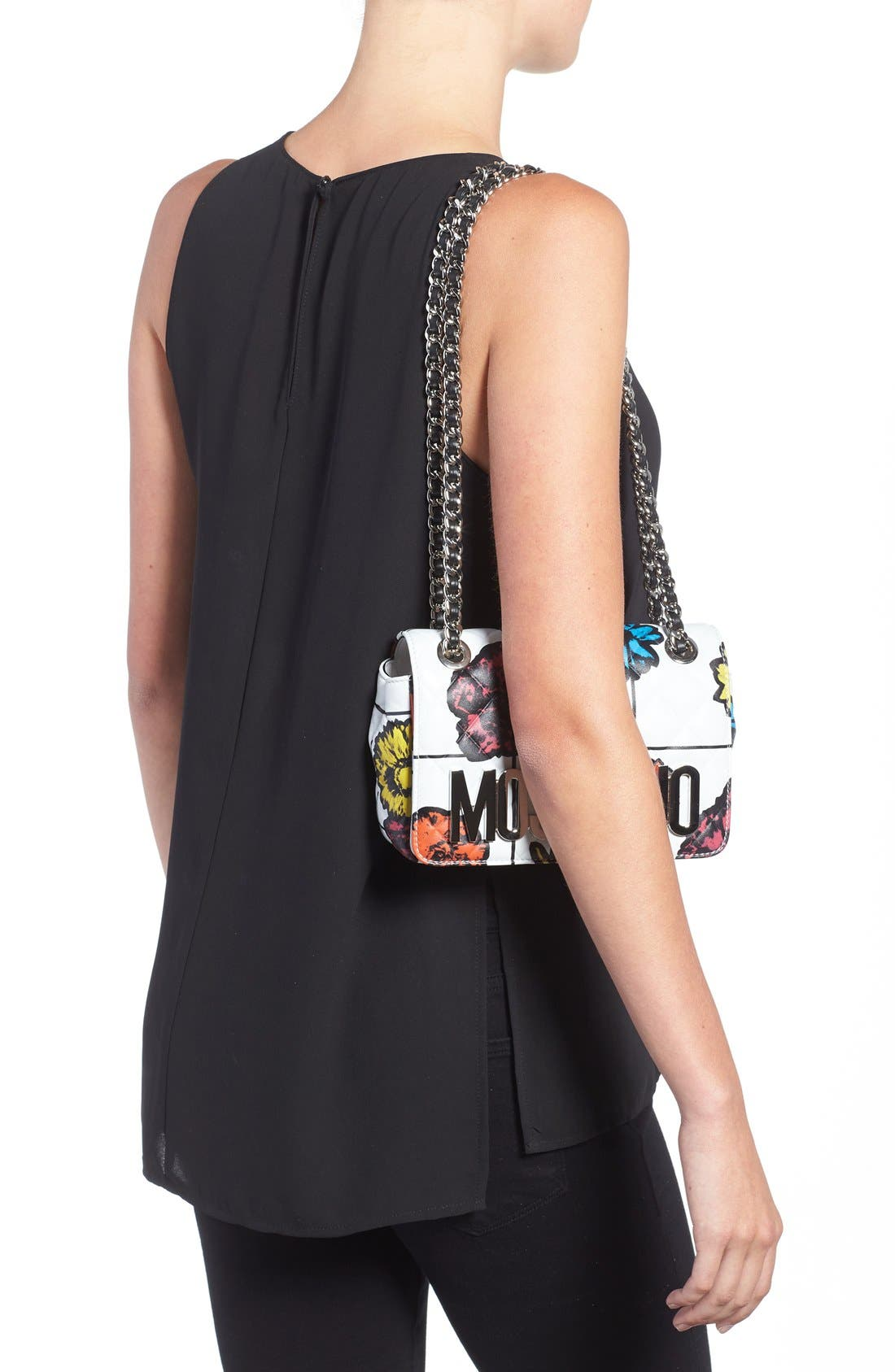 Alternate Image 2  - Moschino 'Small Letters' Floral Quilted Shoulder Bag