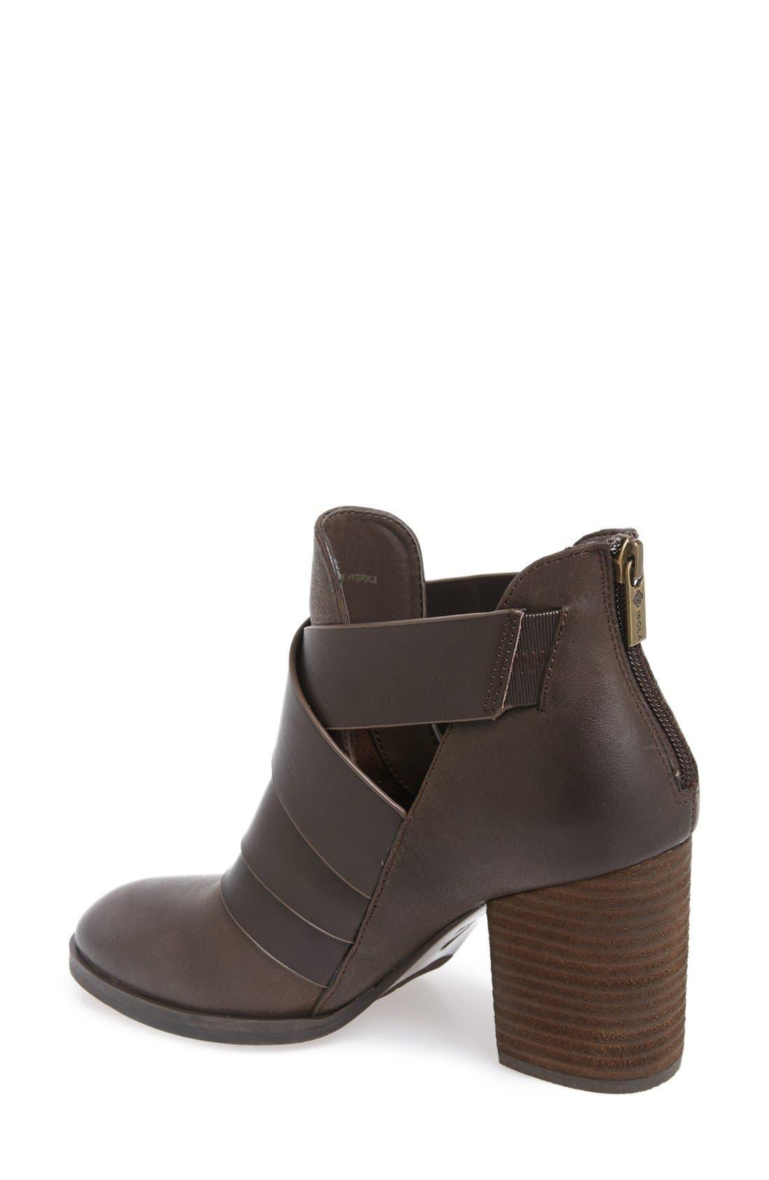 Isolà 'Ladora' Block Heel Bootie,                             Alternate thumbnail 2, color,                             Dark Brown Leather