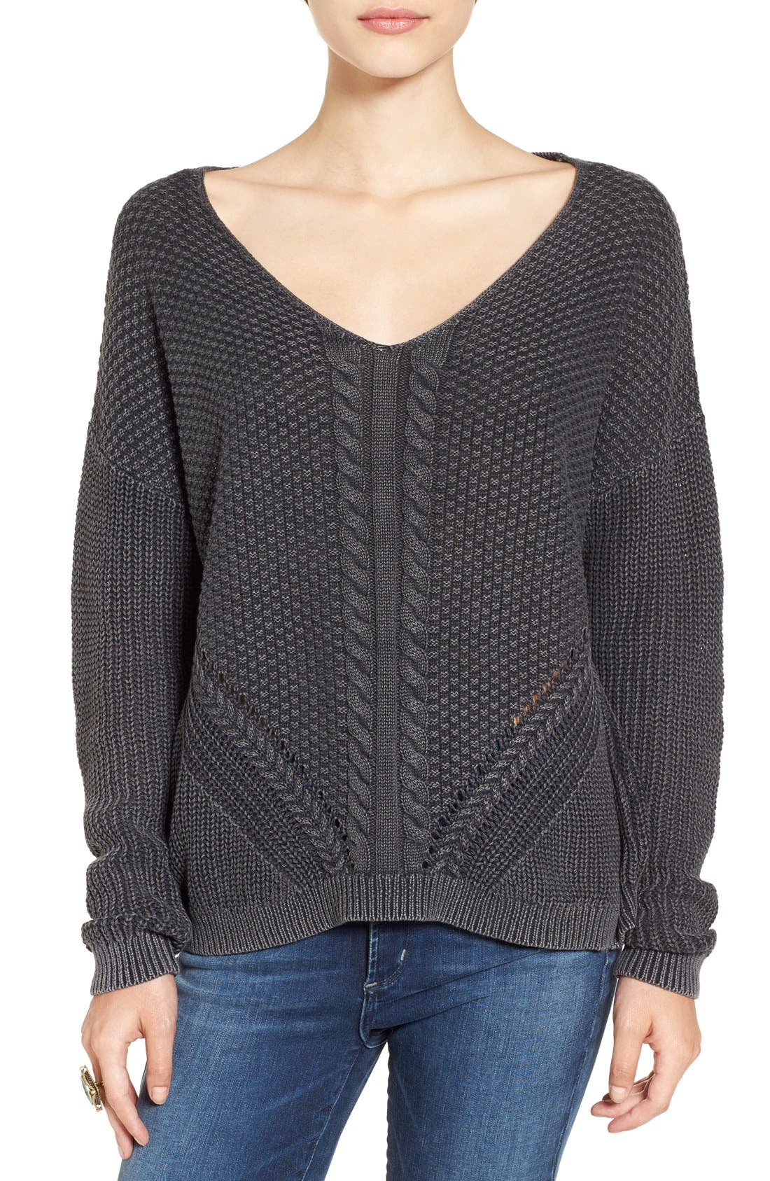 V-Neck Cable Knit Pullover,                         Main,                         color, Black