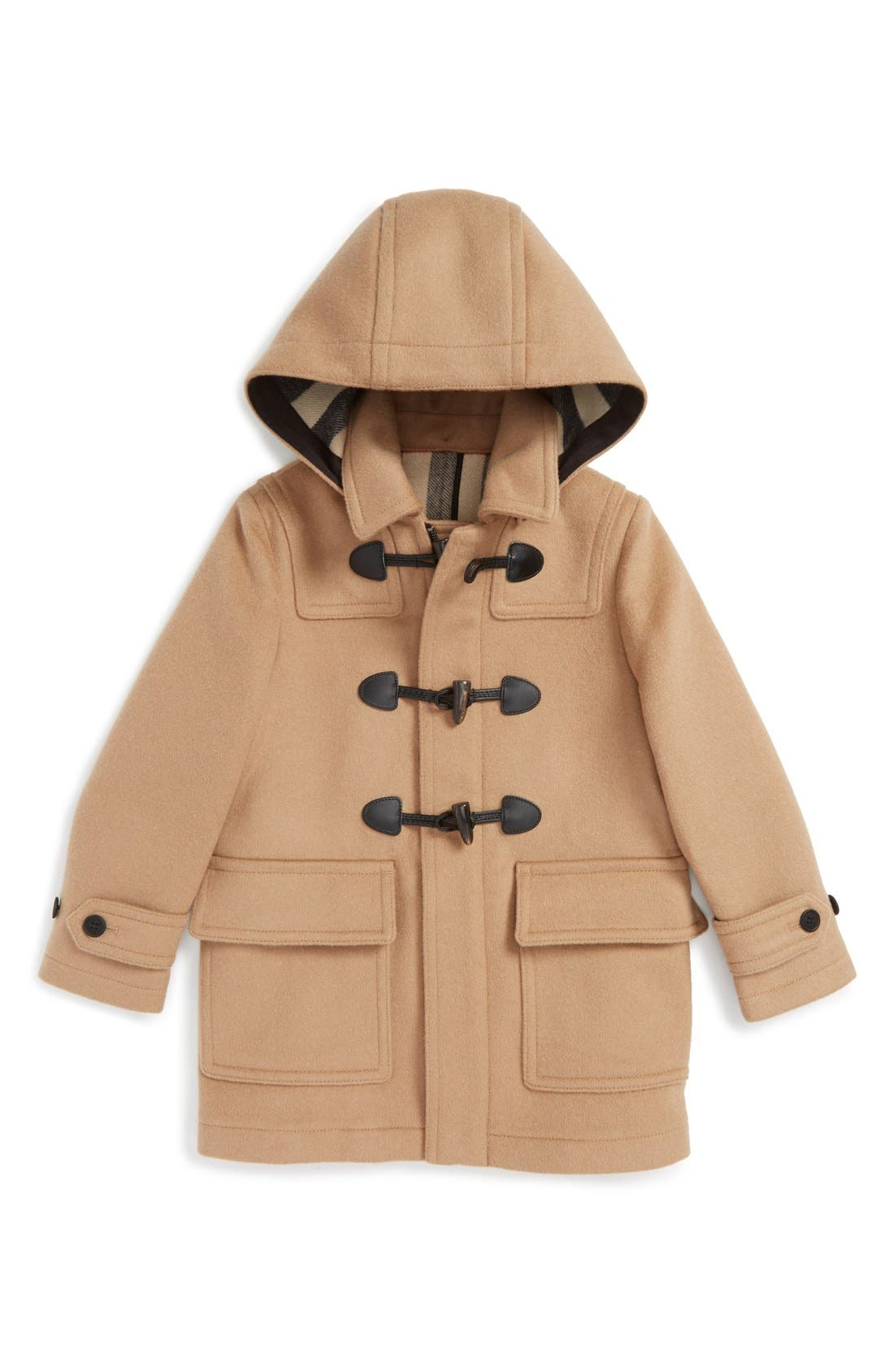 Alternate Image 1 Selected - Burberry 'Burwood' Wool Toggle Coat (Little Boys & Big Boys)