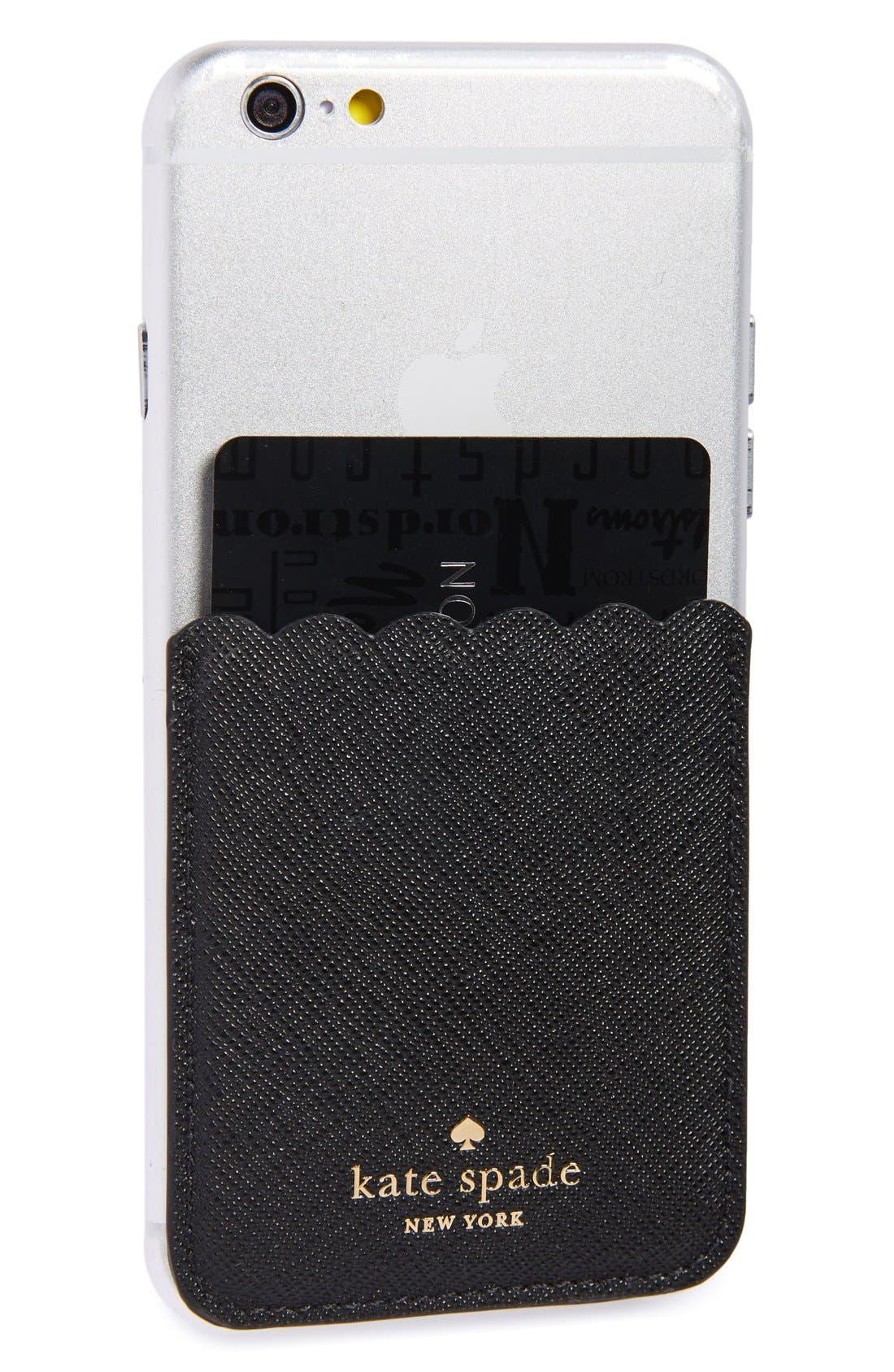 scallop leather stick-on smartphone case pocket,                         Main,                         color, Black