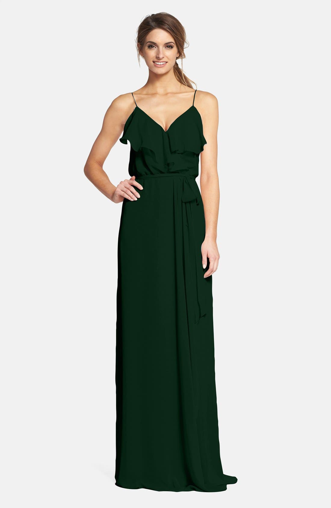 'Drew' Ruffle Front Chiffon Gown,                         Main,                         color, Forest