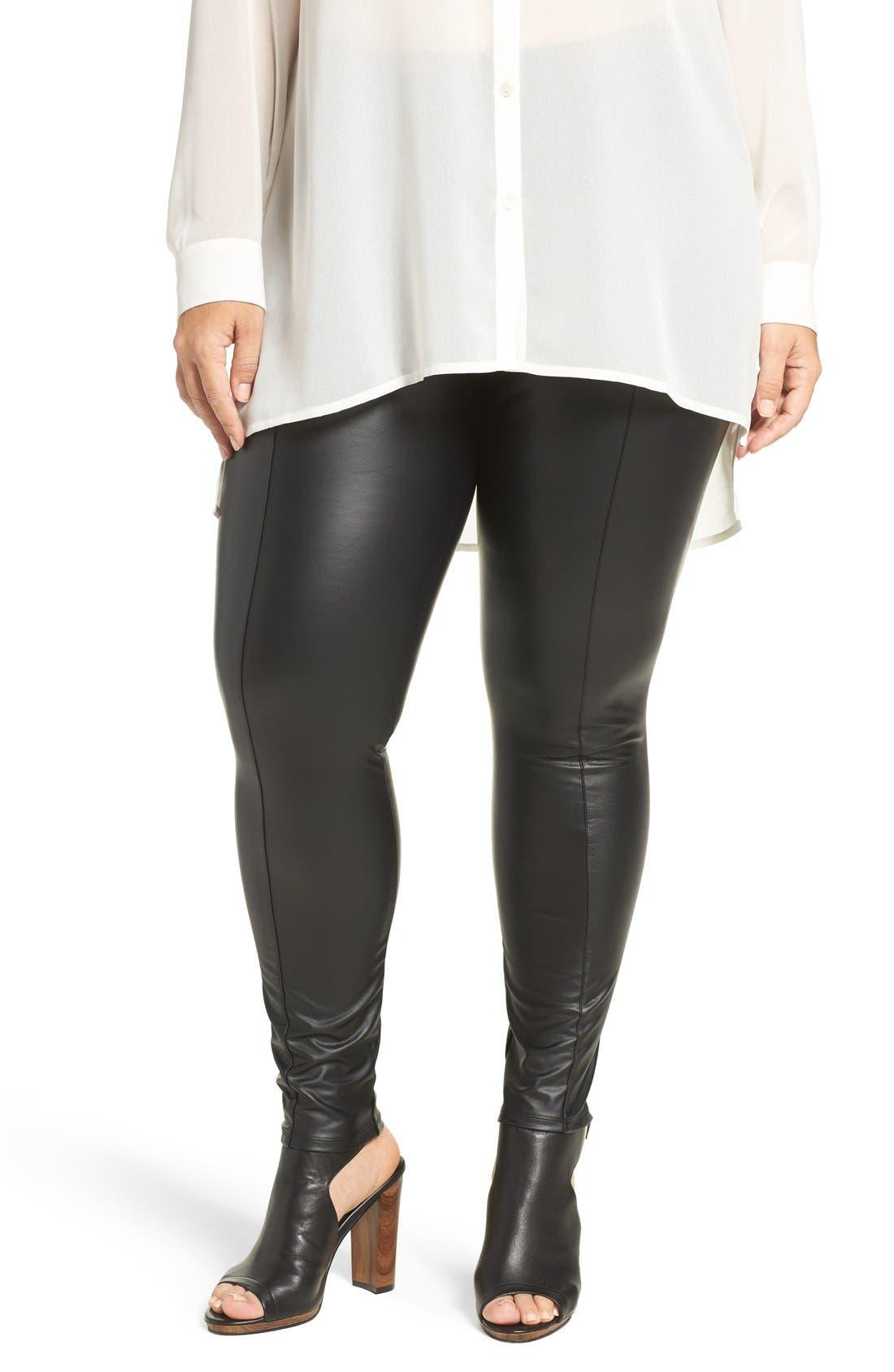 High Waist Faux Leather Leggings,                             Main thumbnail 1, color,                             Black