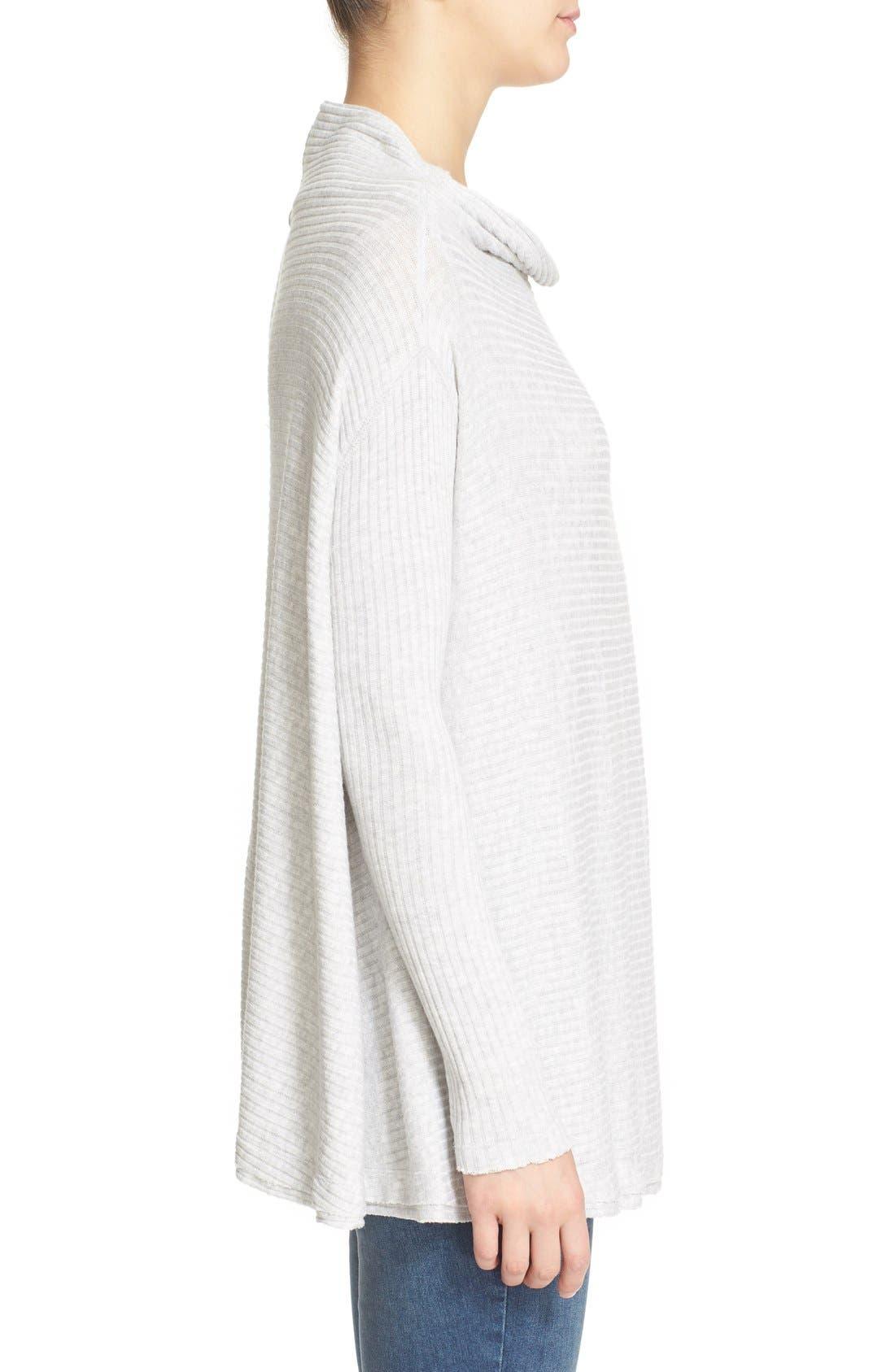 Lover Rib Split Back Pullover,                             Alternate thumbnail 3, color,                             Grey