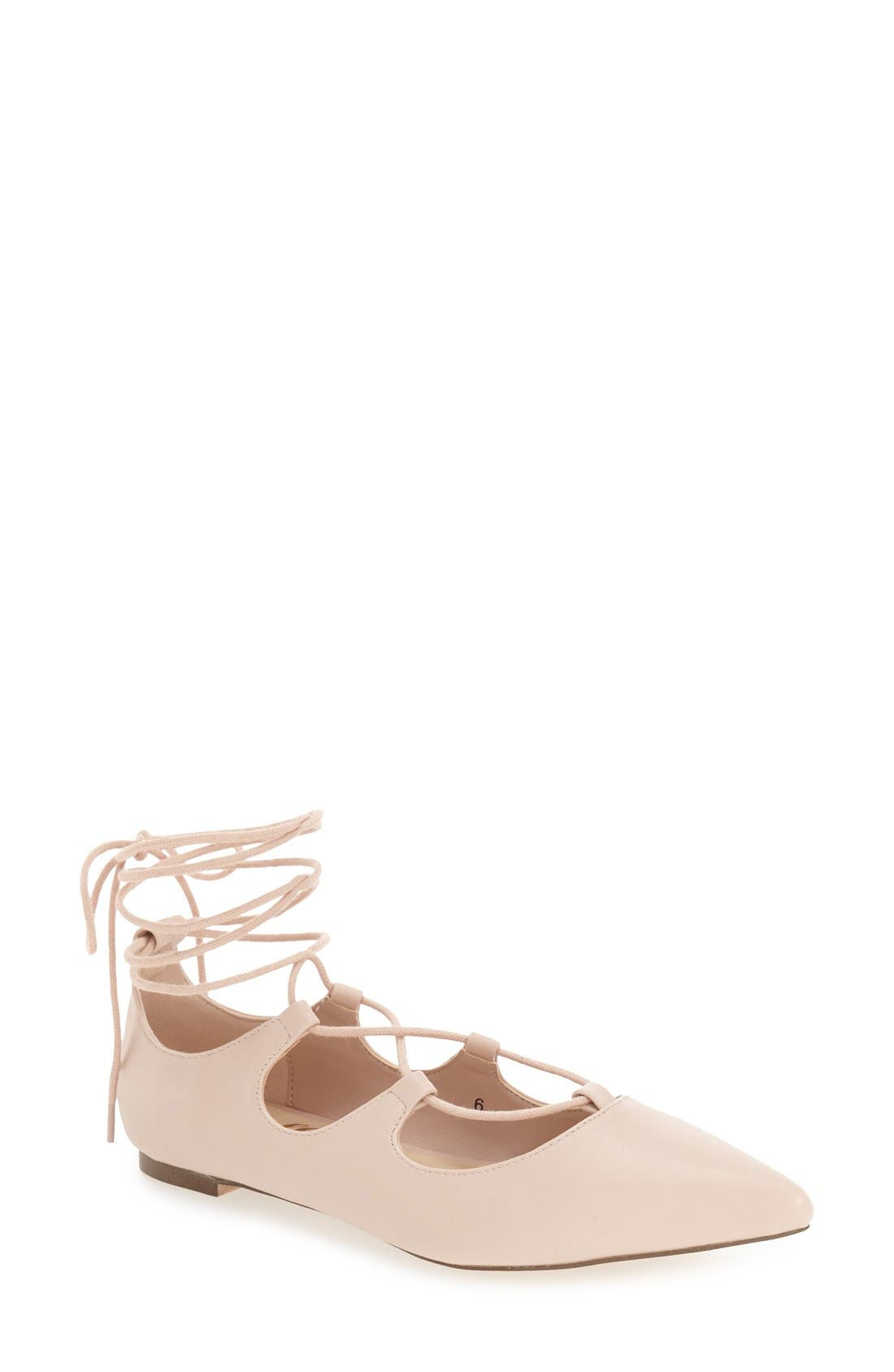 Alternate Image 1 Selected - Callisto 'Rian' Ghillie Lace Pointy Toe Flat (Women)