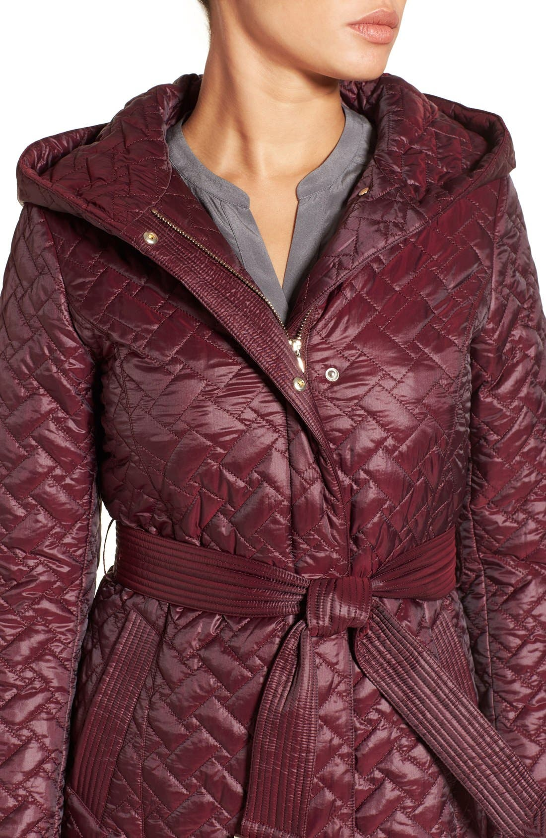 'Thermore' Water Repellent Quilted Coat,                             Alternate thumbnail 4, color,                             Cabernet