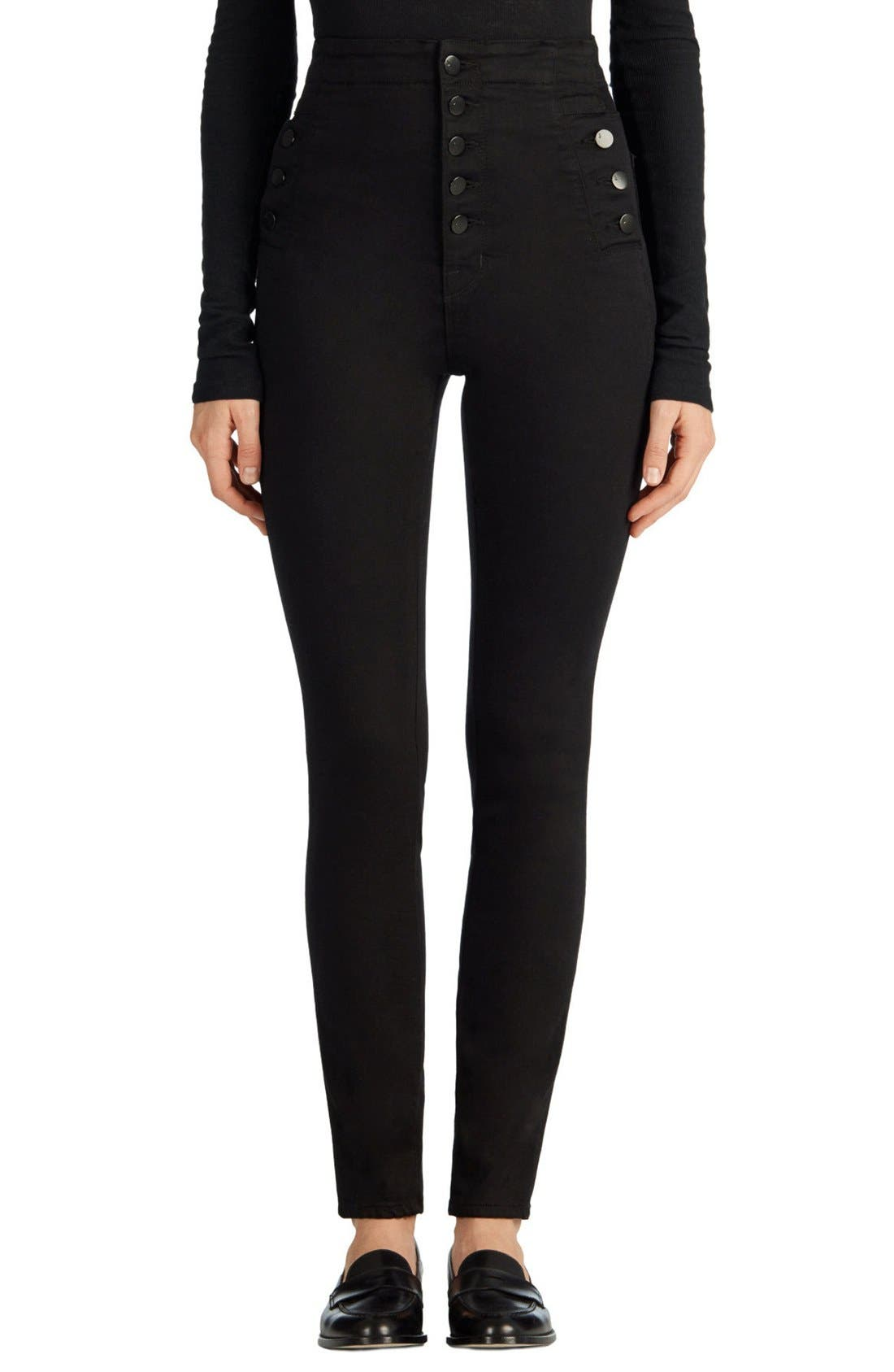 Alternate Image 1 Selected - J Brand Natasha Sky High High Waist Skinny Jeans (Seriously Black)