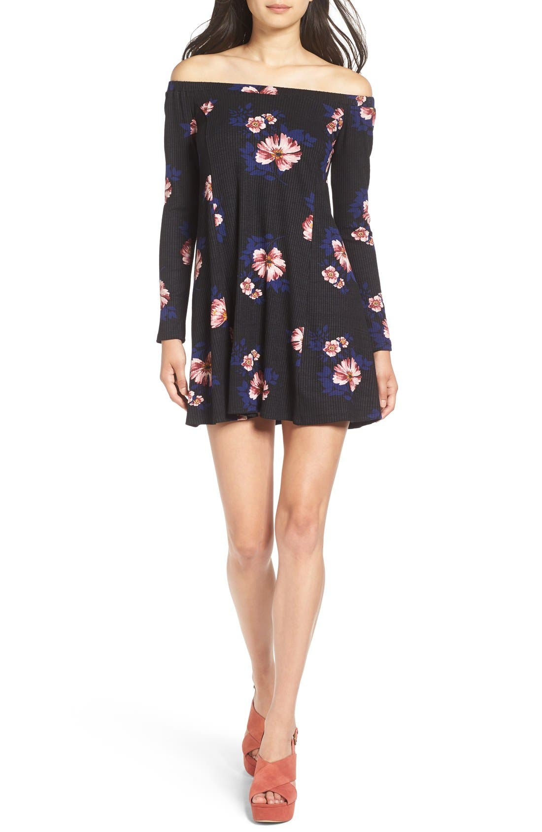 Main Image - Lush Off the Shoulder Floral Print Dress