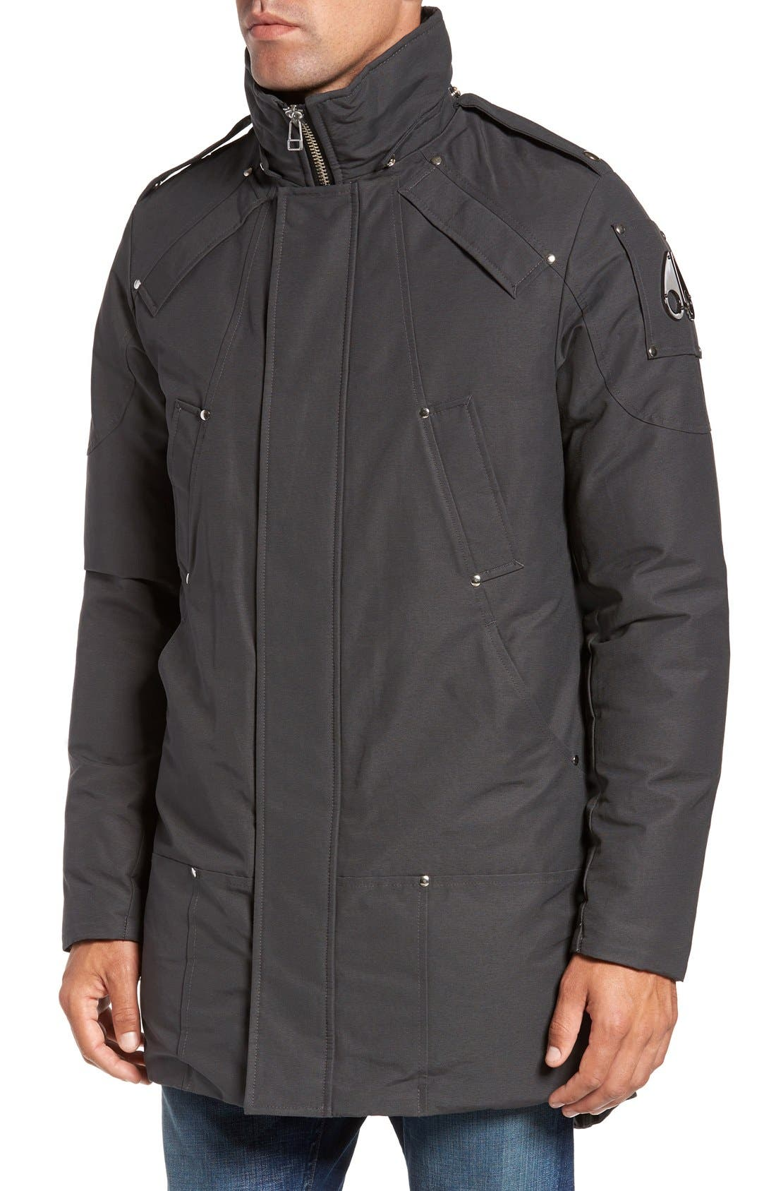 Stirling Water Repellent Down Parka with Genuine Fox Fur Trim,                             Alternate thumbnail 4, color,                             Grey