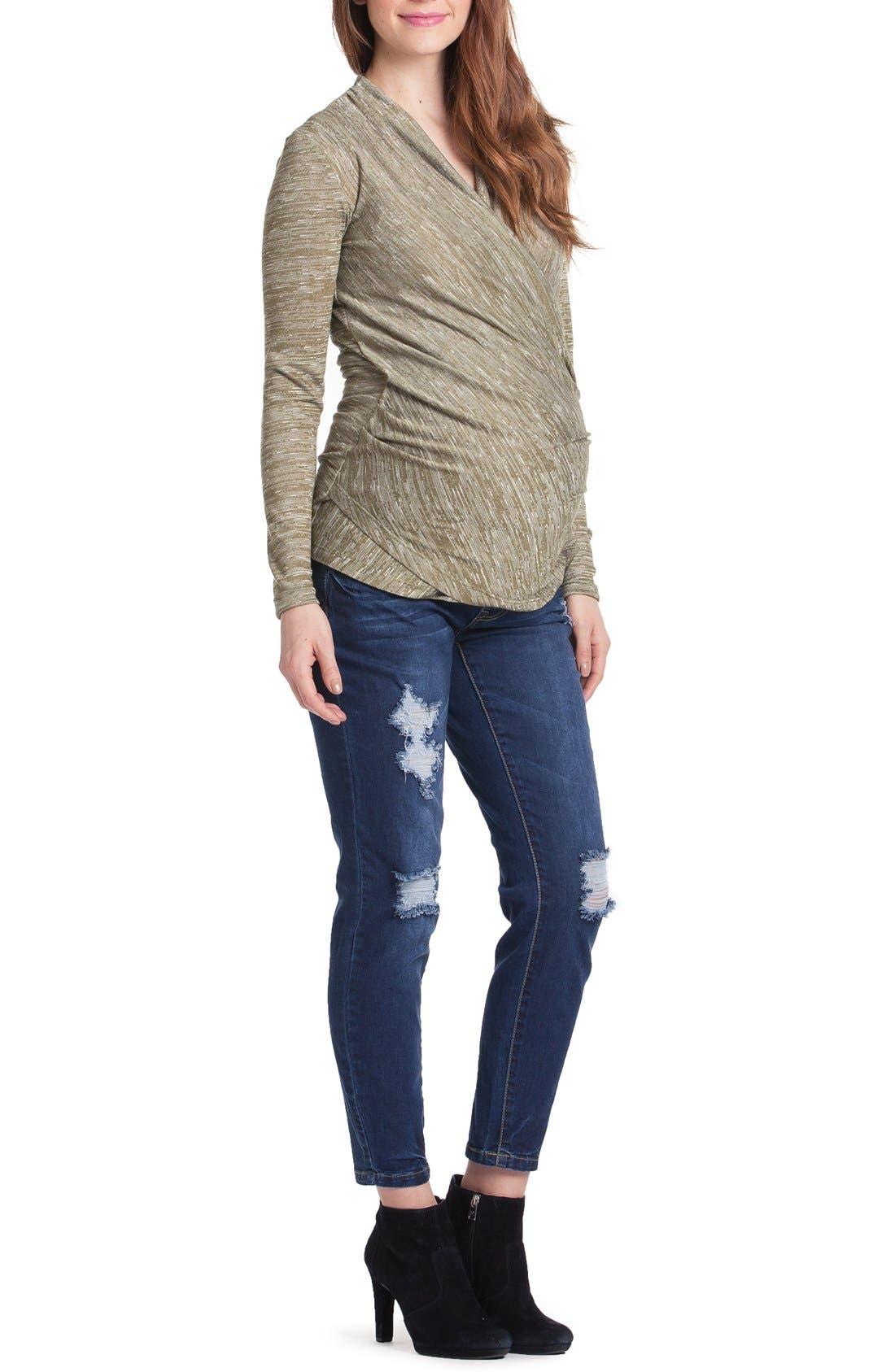 Alternate Image 1 Selected - Lilac Clothing Karen Surplice Maternity/Nursing Top
