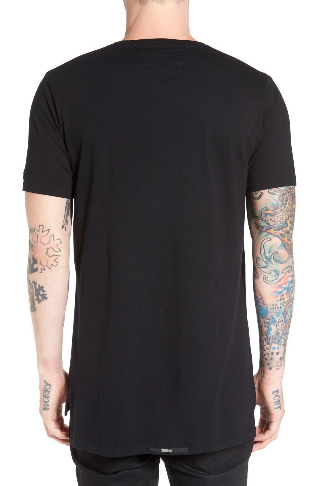 Flintlock Longline T-Shirt,                             Alternate thumbnail 3, color,                             Black