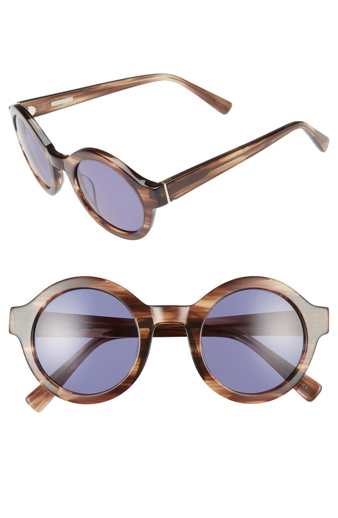 'Luna' 47mm Round Sunglasses,                         Main,                         color, Brown Feather