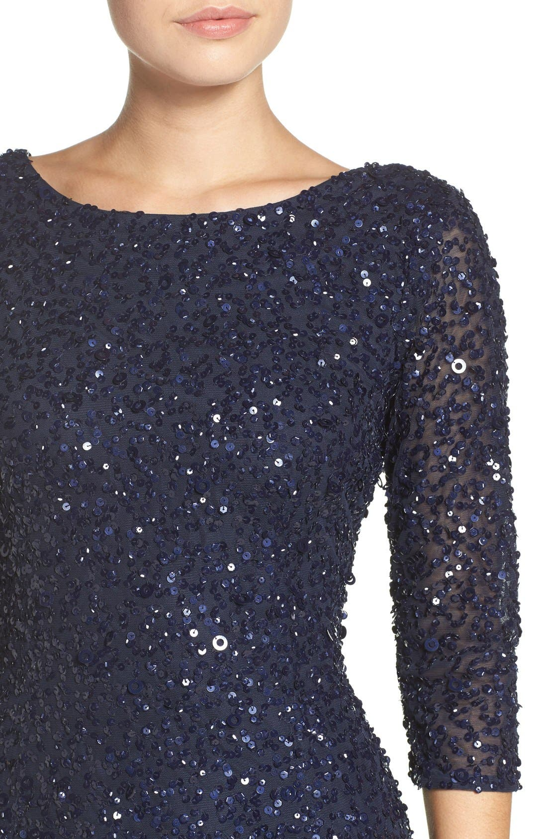 Sequin Mesh Gown,                             Alternate thumbnail 5, color,                             Navy