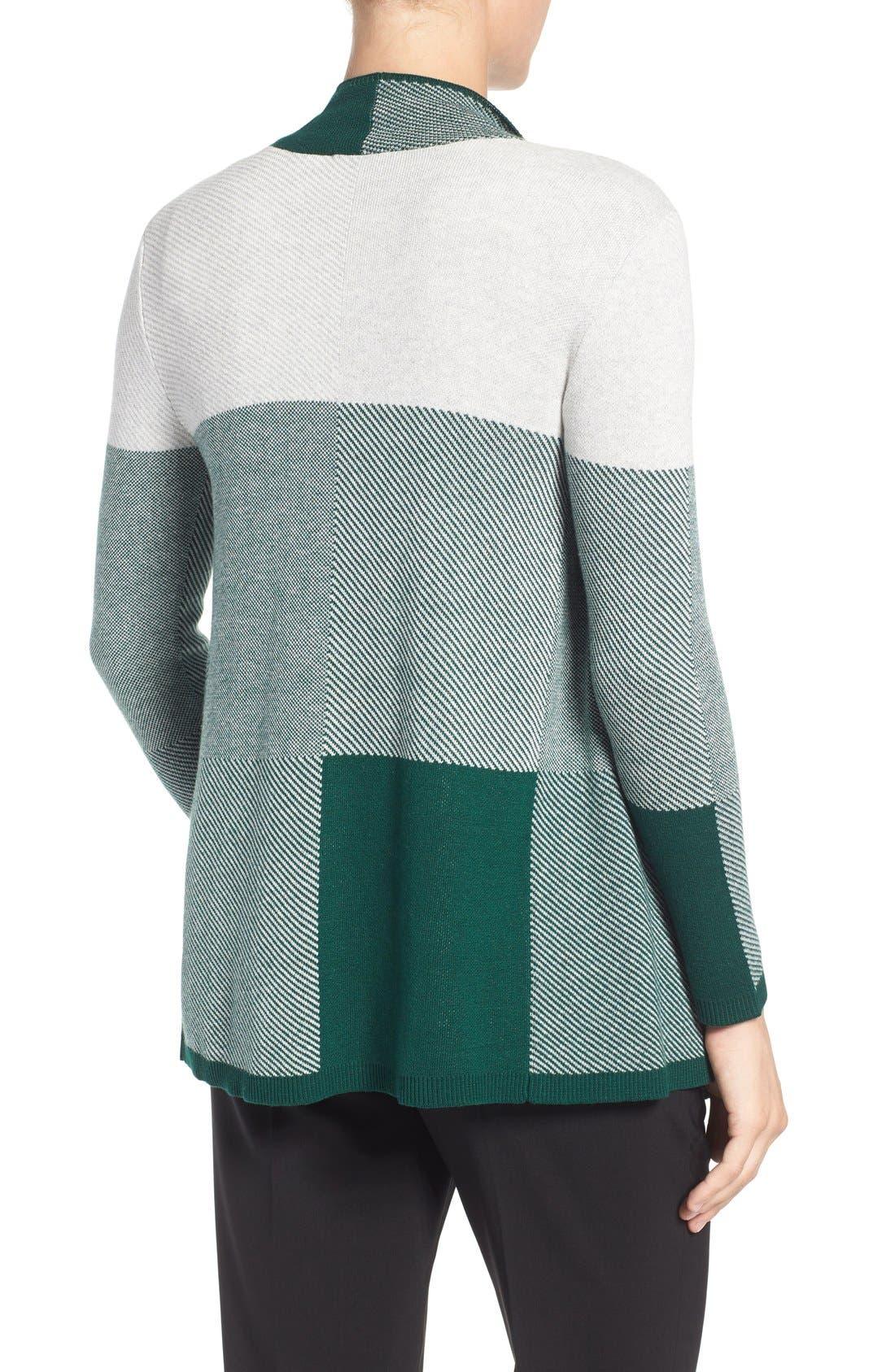 Alternate Image 2  - Chaus Colorblock Jacquard Drape Front Cardigan