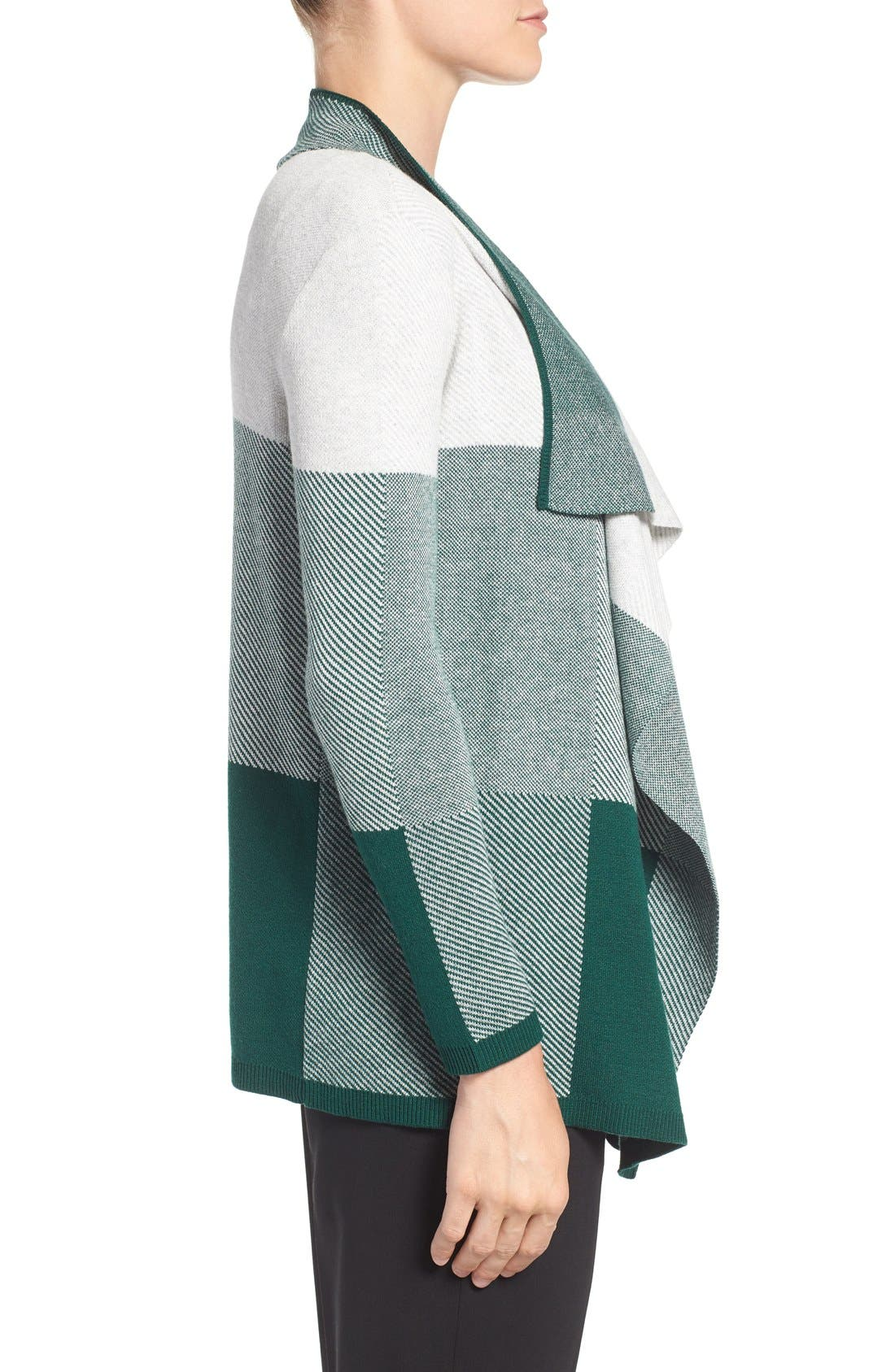 Alternate Image 3  - Chaus Colorblock Jacquard Drape Front Cardigan