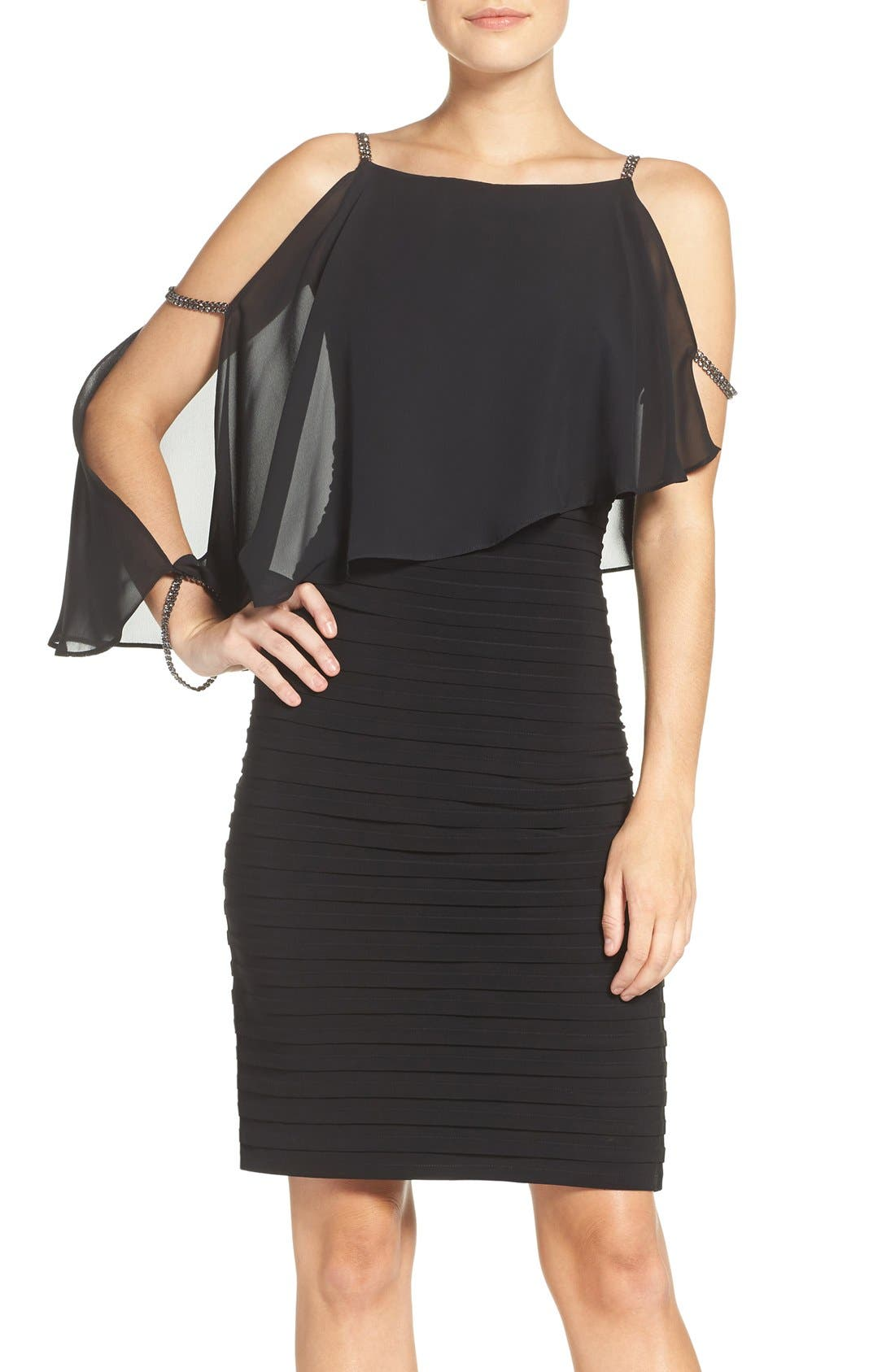 ADRIANNA PAPELL Embellished Cold Shoulder Jersey Sheath Dress