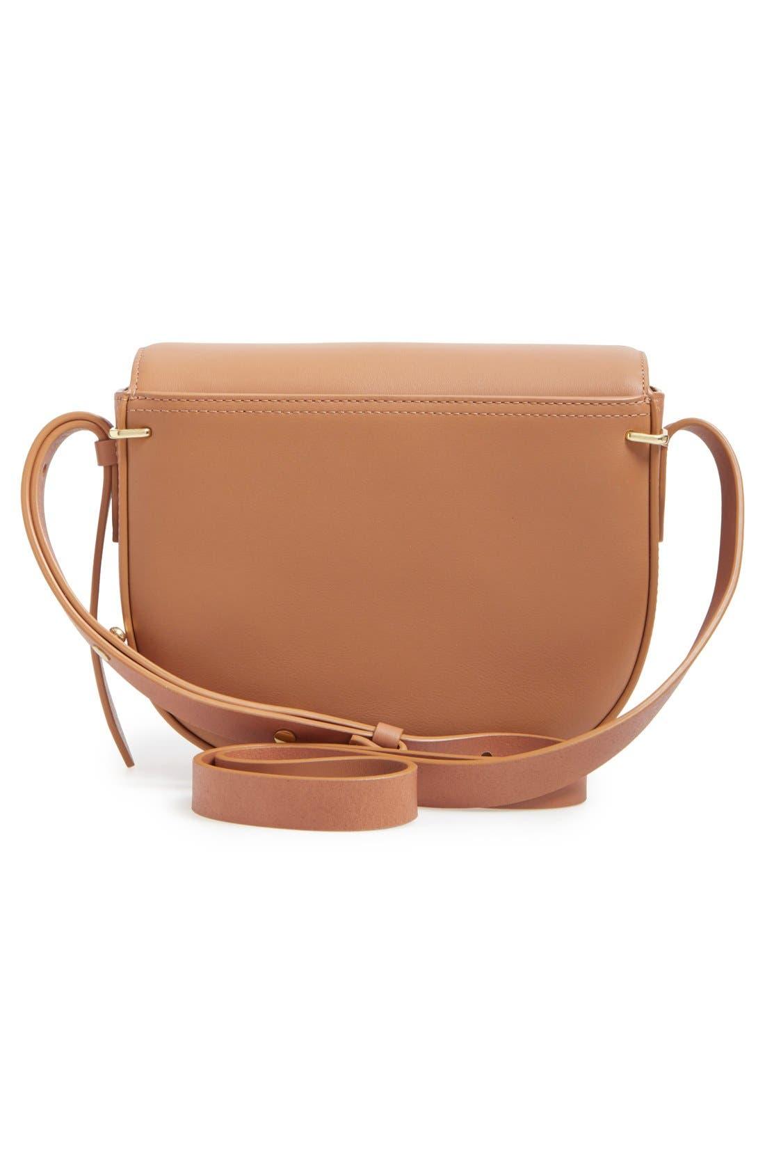 Alix Leather Saddle Bag,                             Alternate thumbnail 3, color,                             Camel