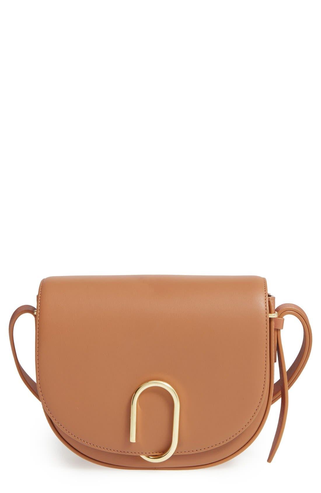 Alix Leather Saddle Bag,                             Main thumbnail 1, color,                             Camel