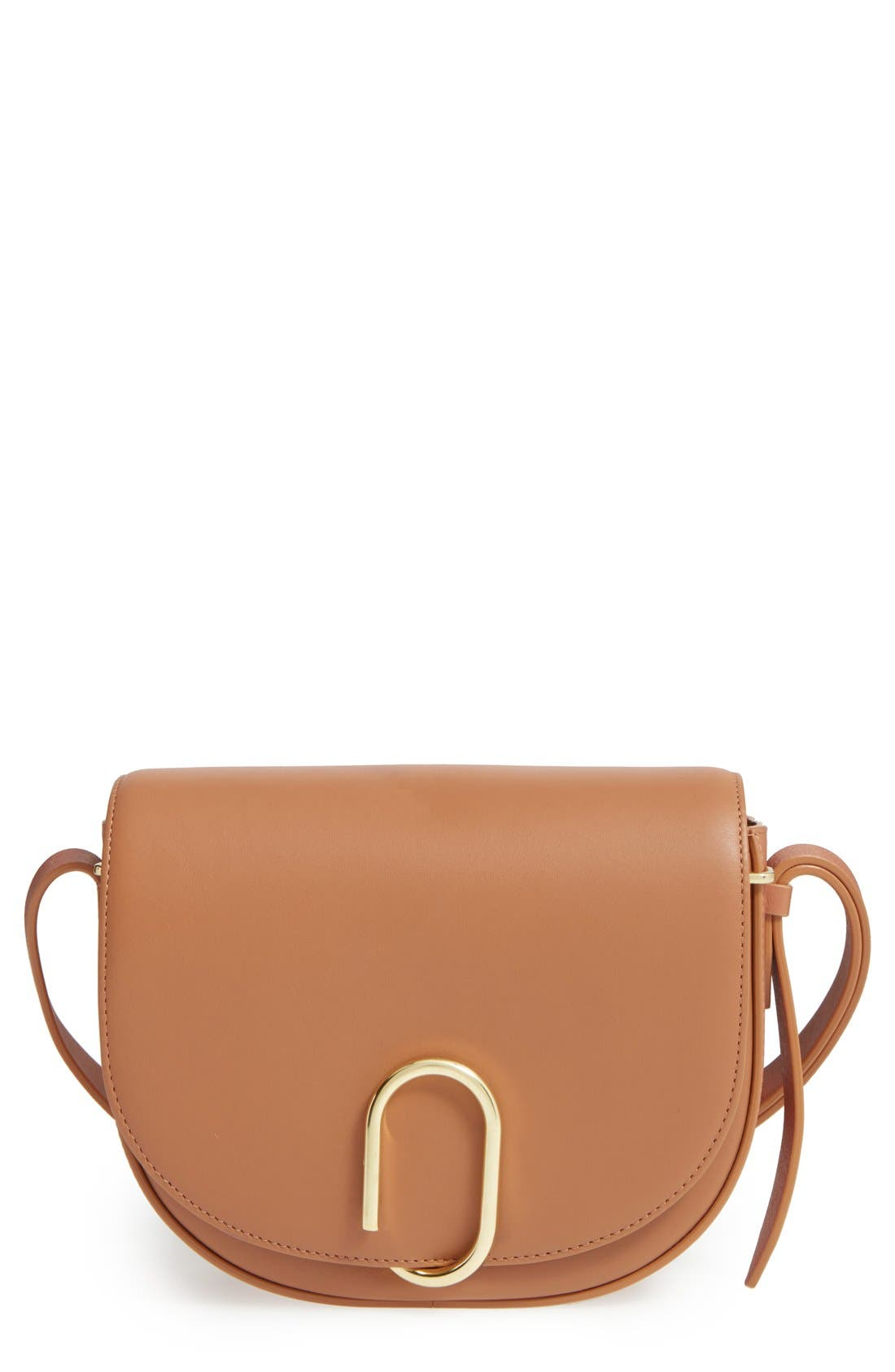 Alix Leather Saddle Bag,                         Main,                         color, Camel