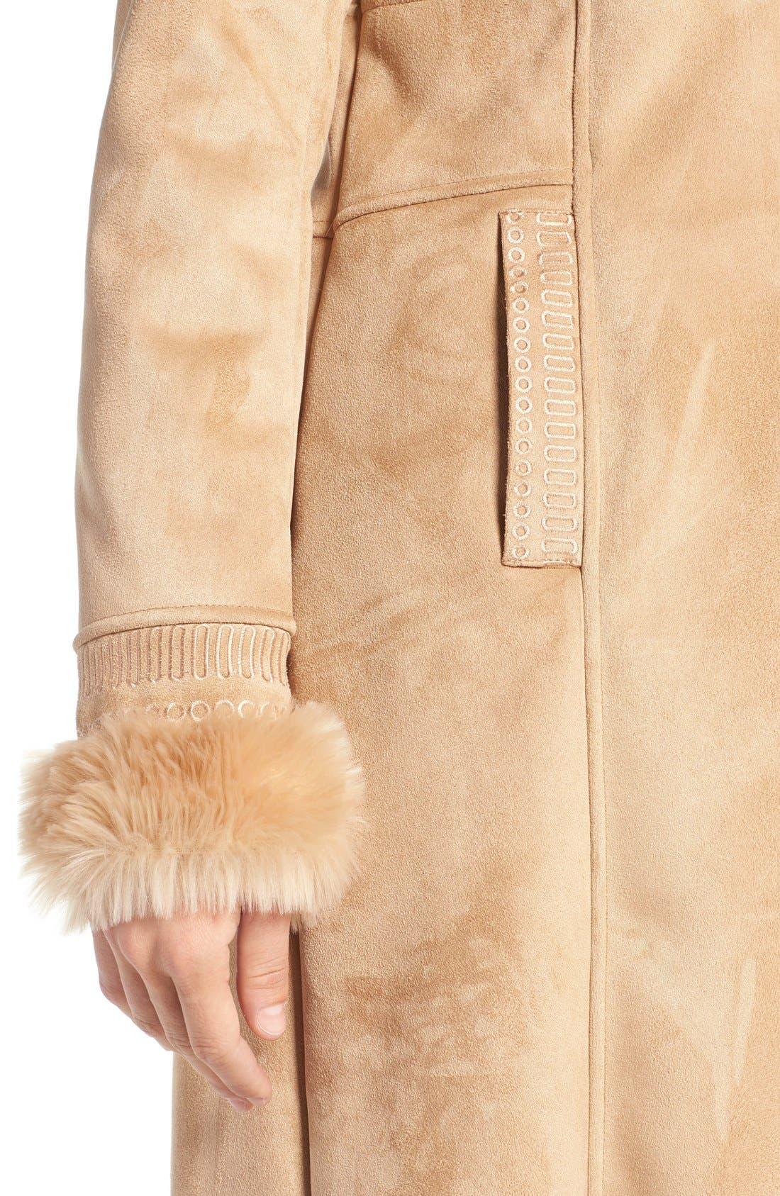 Alternate Image 4  - Badgley Mischka Faux Shearling Lined Coat