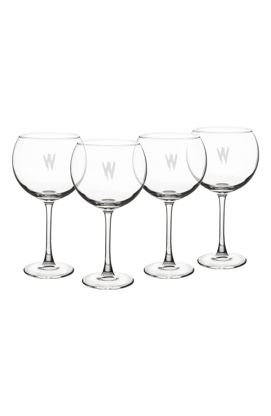 Spooky Monogram Set of 4 Red Wine Glasses,                         Main,                         color, W