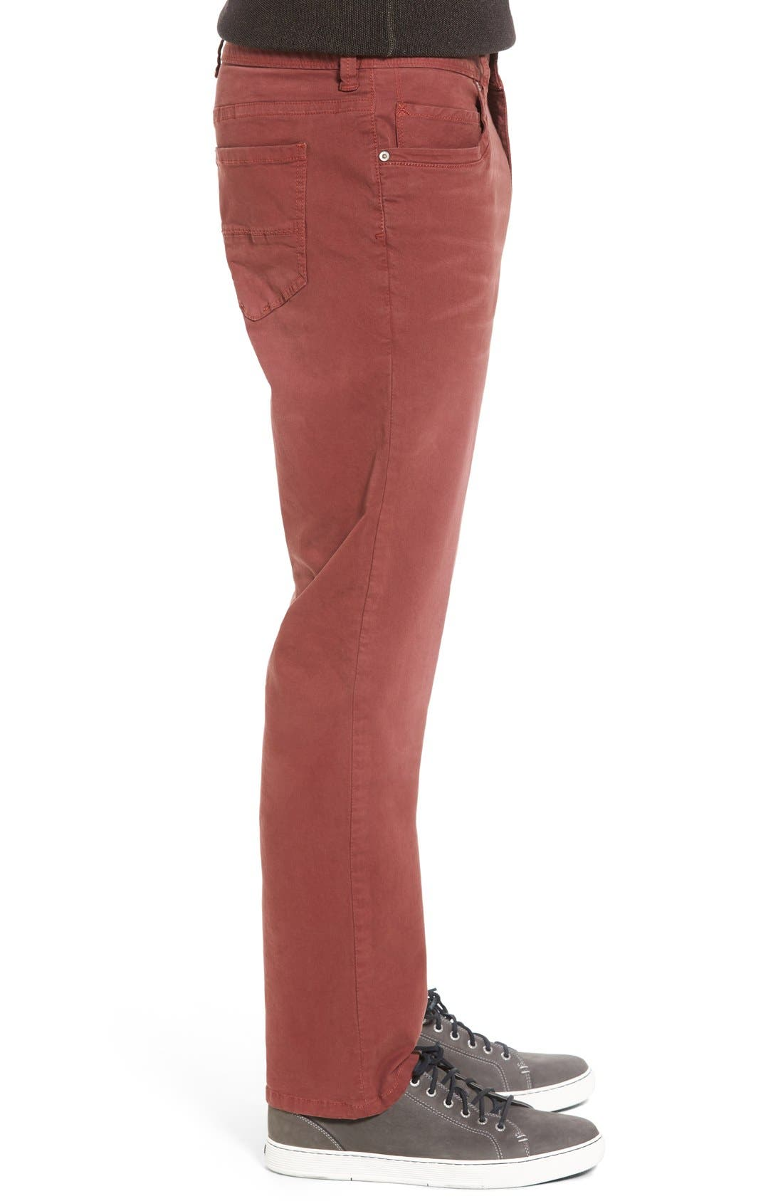 'Santiago' Washed Twill Pants,                             Alternate thumbnail 3, color,                             Maroon