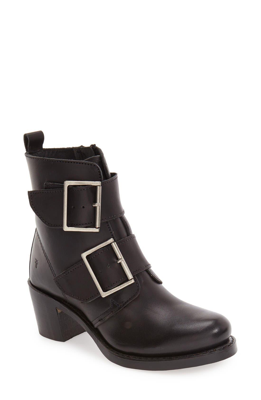 'Sabrina' Double Buckle Boot,                             Main thumbnail 1, color,                             Black