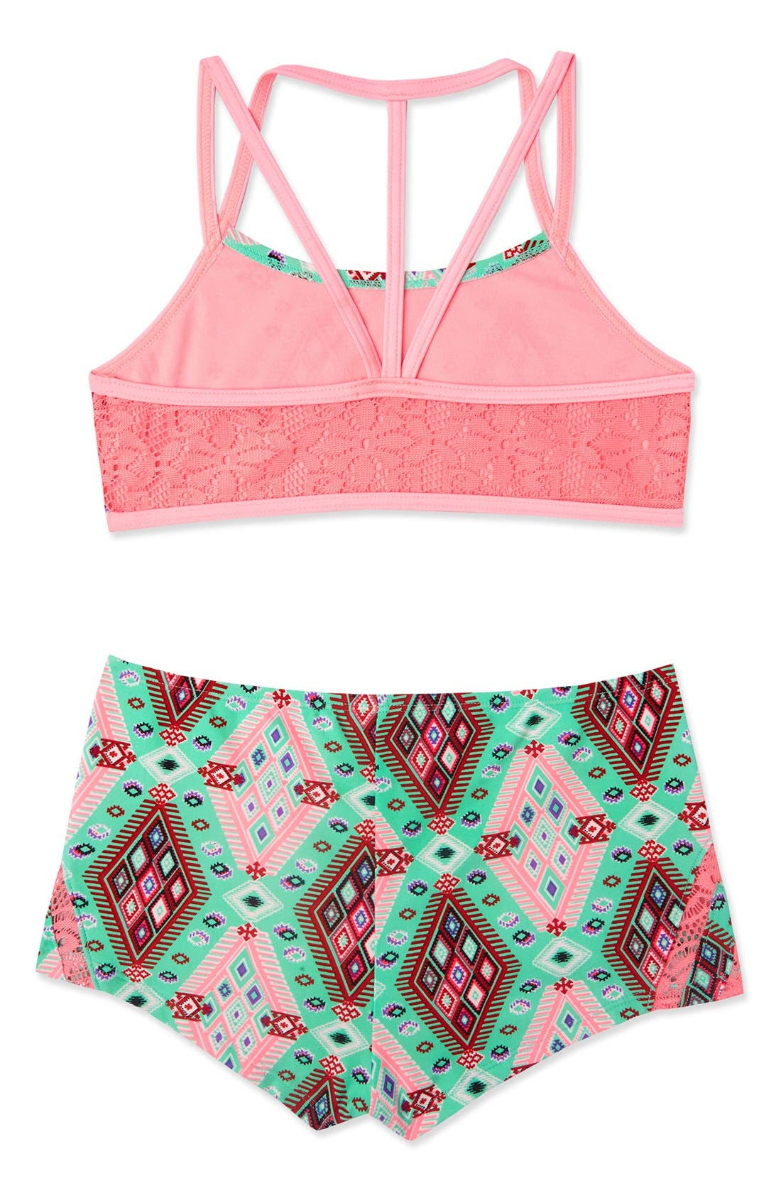 Alternate Image 3  - Gossip Girl 'Aztec Harvest' Print Two-Piece Swimsuit (Big Girls)