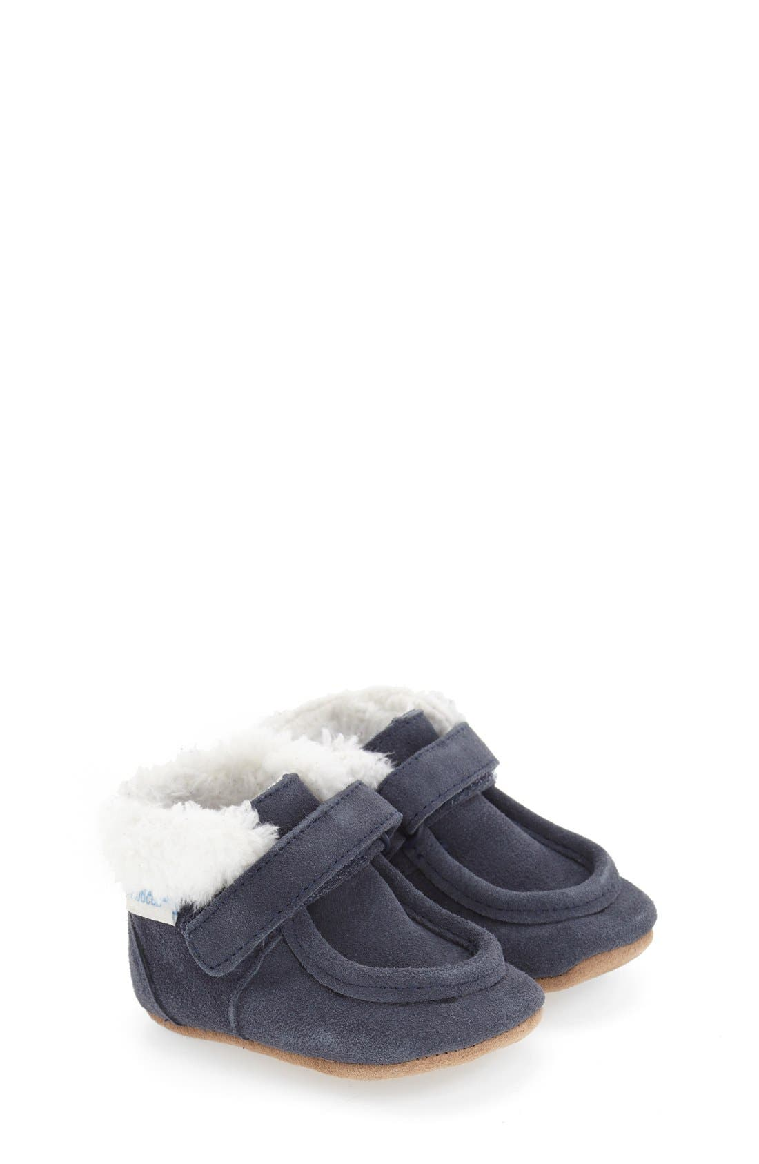 'Sawyer Snuggle' Crib Shoe,                         Main,                         color, Navy Leather