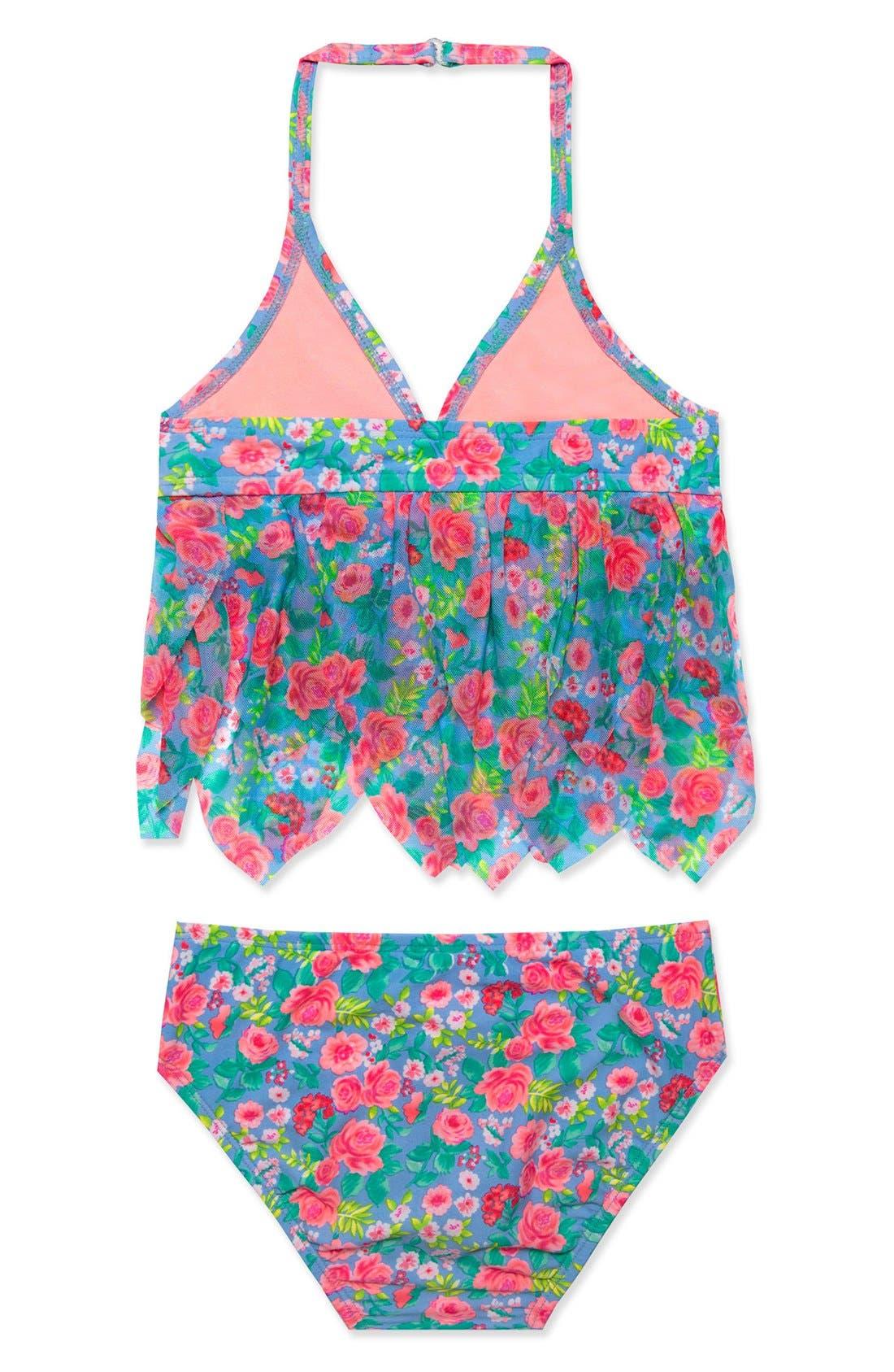 'Rose Tango' Two-Piece Tankini Swimsuit,                             Alternate thumbnail 2, color,                             Blue