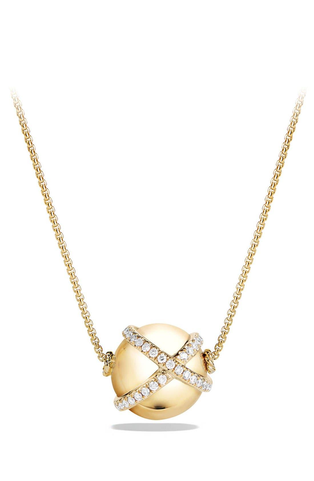 David Yurman 'Solari' Wrap Pendant Necklace with Pavé Diamonds in 18k Gold